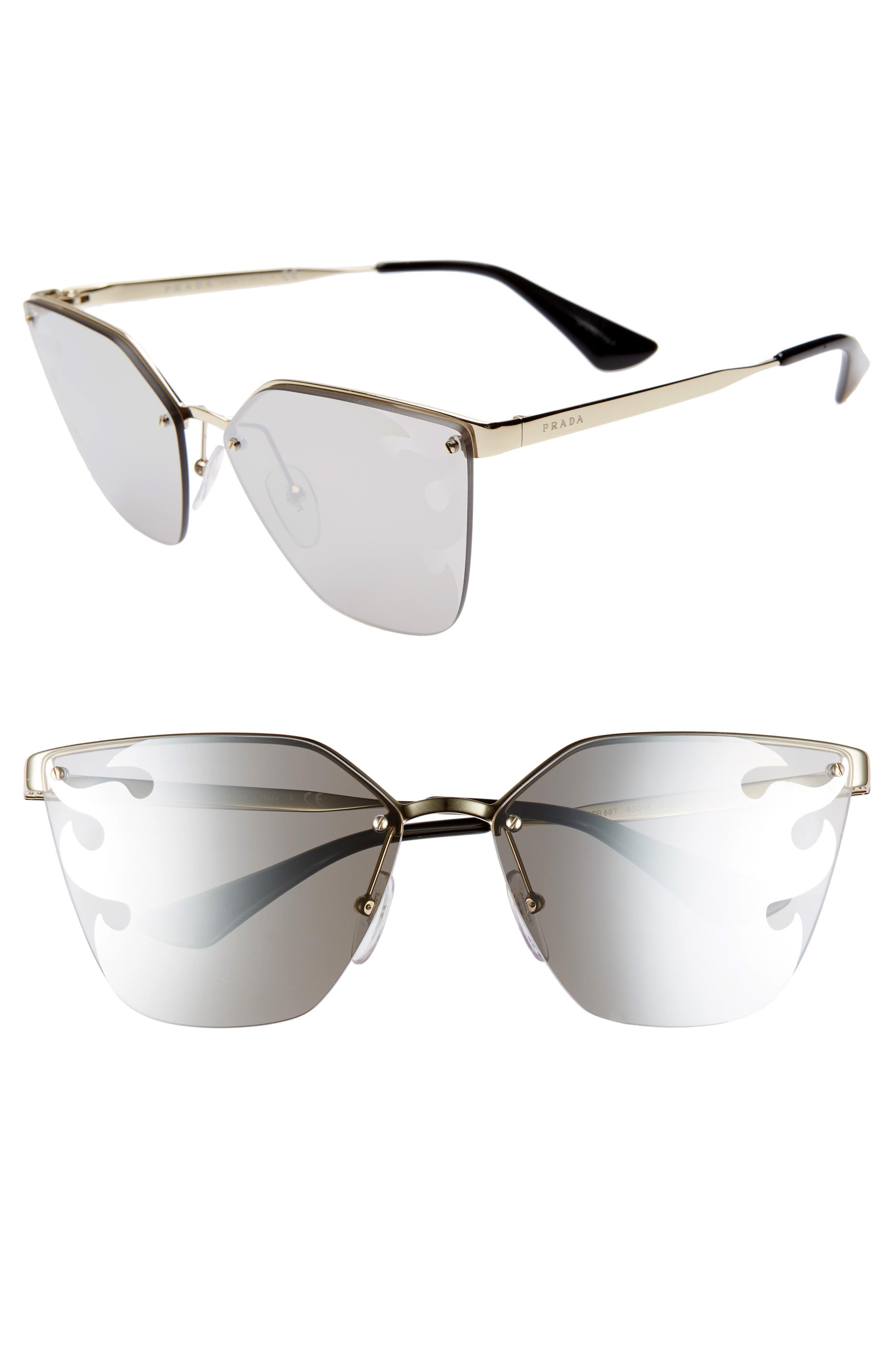 PRADA,                             Cinéma 63mm Oversize Rimless Sunglasses,                             Main thumbnail 1, color,                             GOLD/ GREY SILVER MIRROR