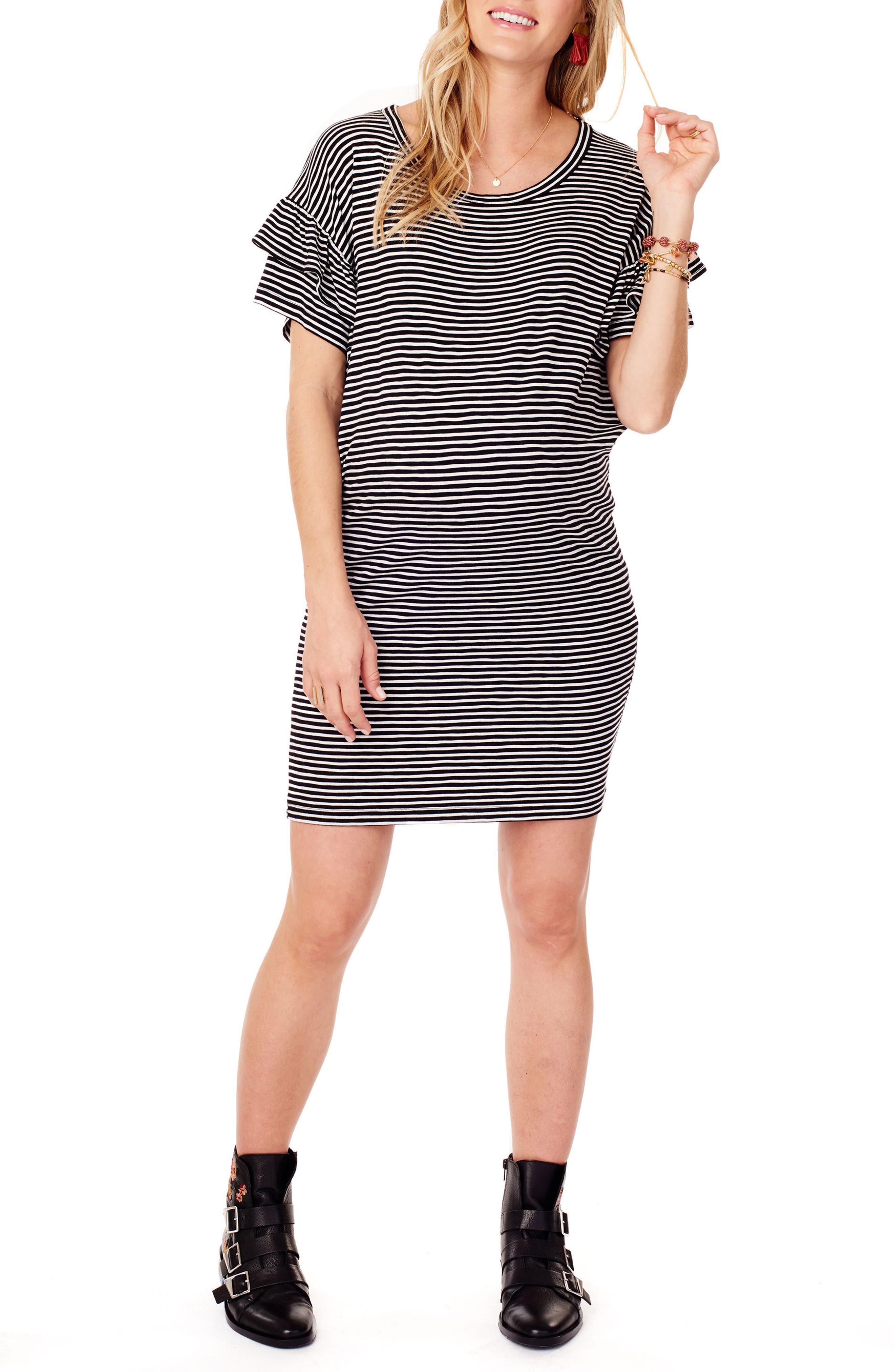 Ruffle Sleeve Maternity T-Shirt Dress,                             Main thumbnail 1, color,                             BLACK/ WHITE STRIPE