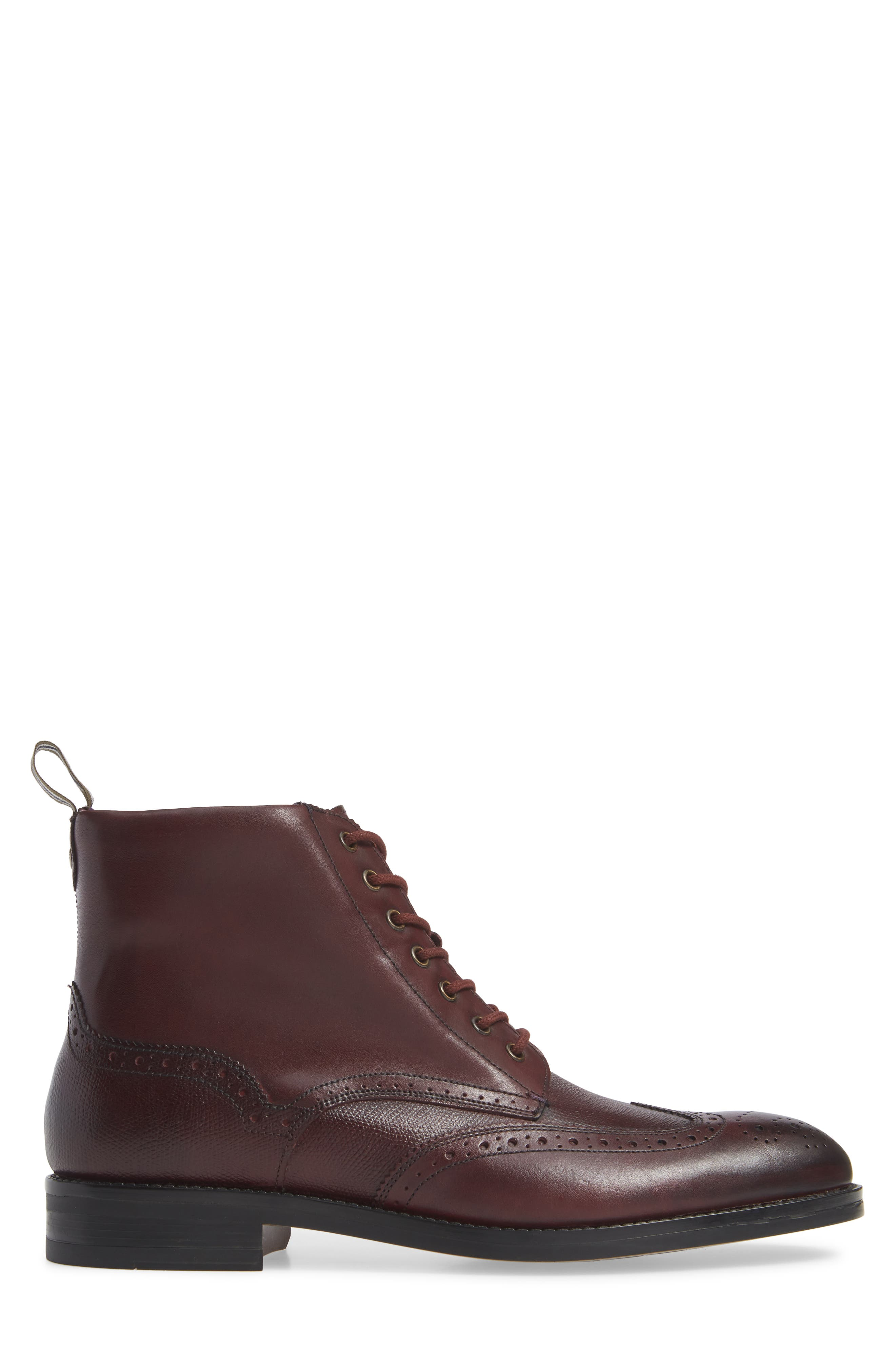 Brogue Ankle Boot,                             Alternate thumbnail 3, color,                             DARK RED LEATHER