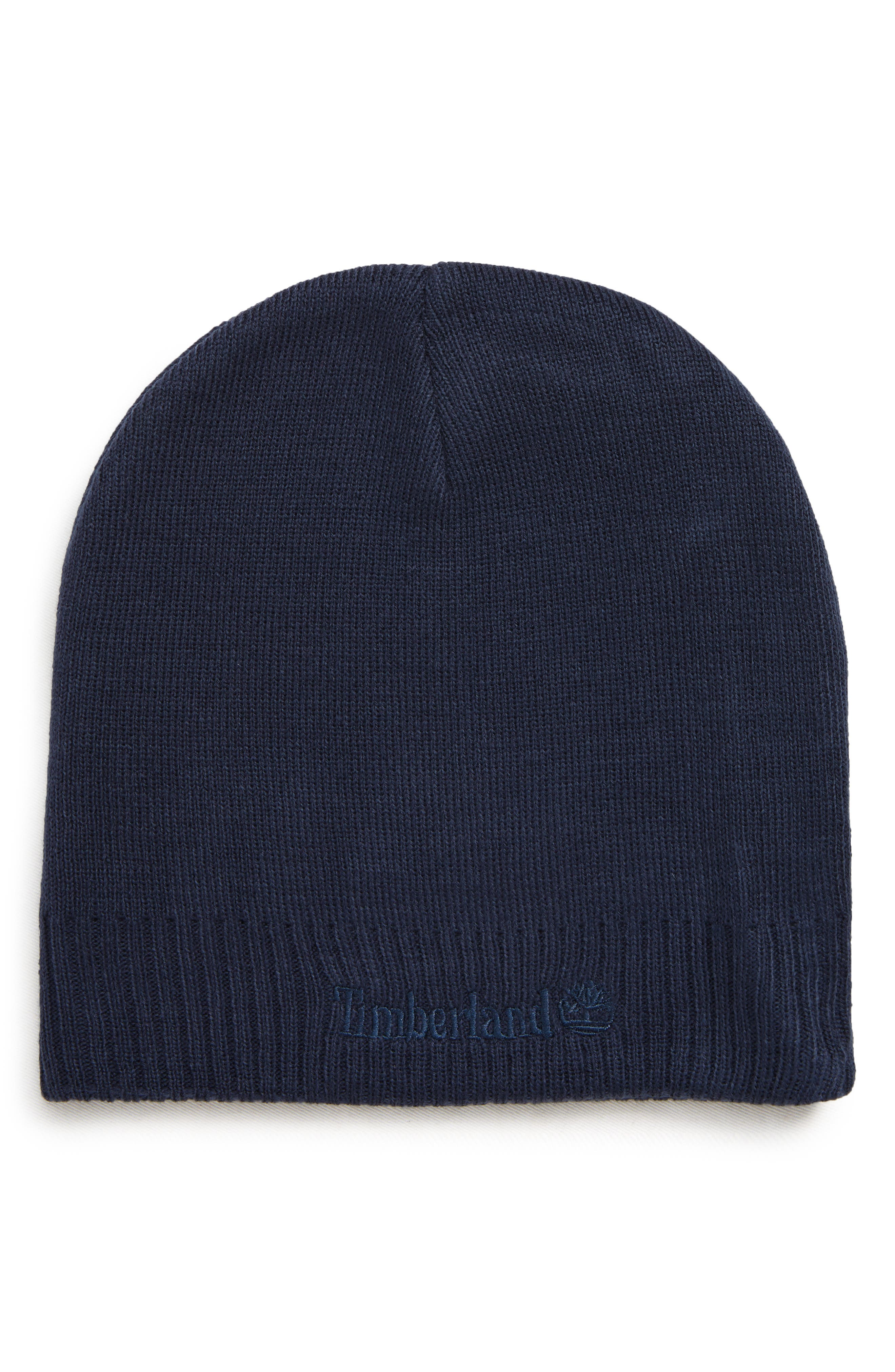 Timberland Embroidered Logo Knit Beanie - Blue