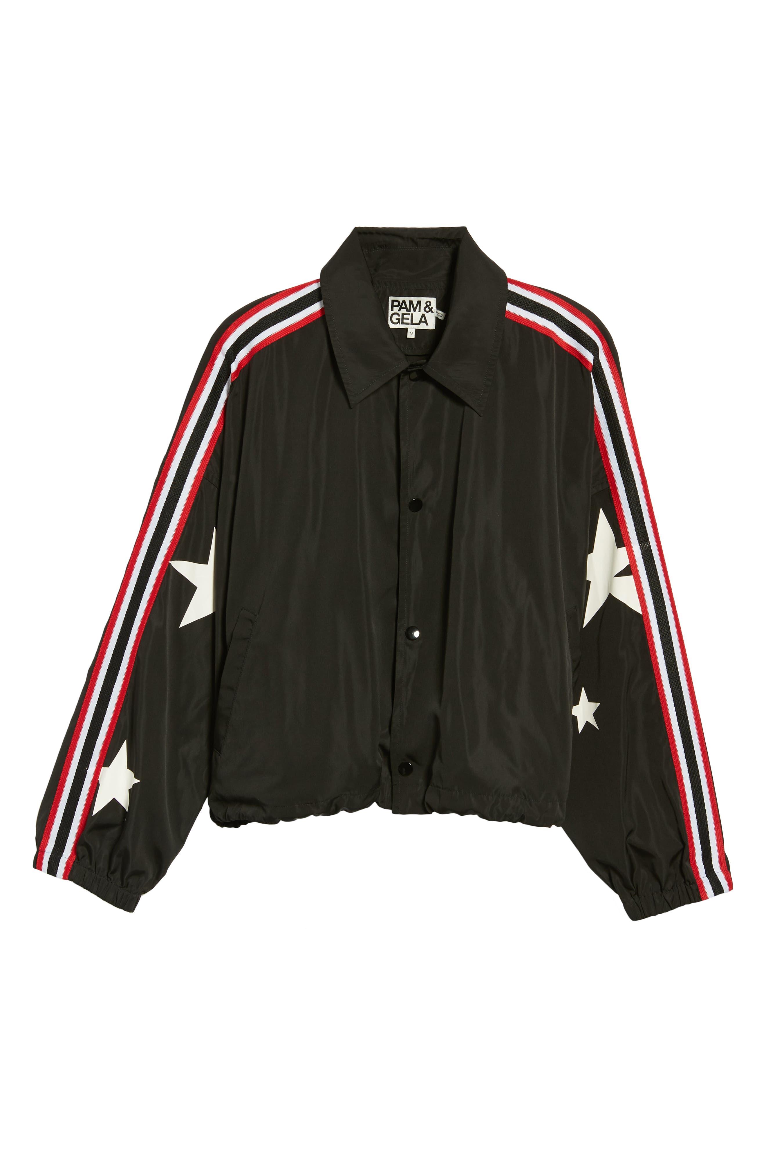 Star Drawstring Track Jacket,                             Alternate thumbnail 6, color,                             BLACK