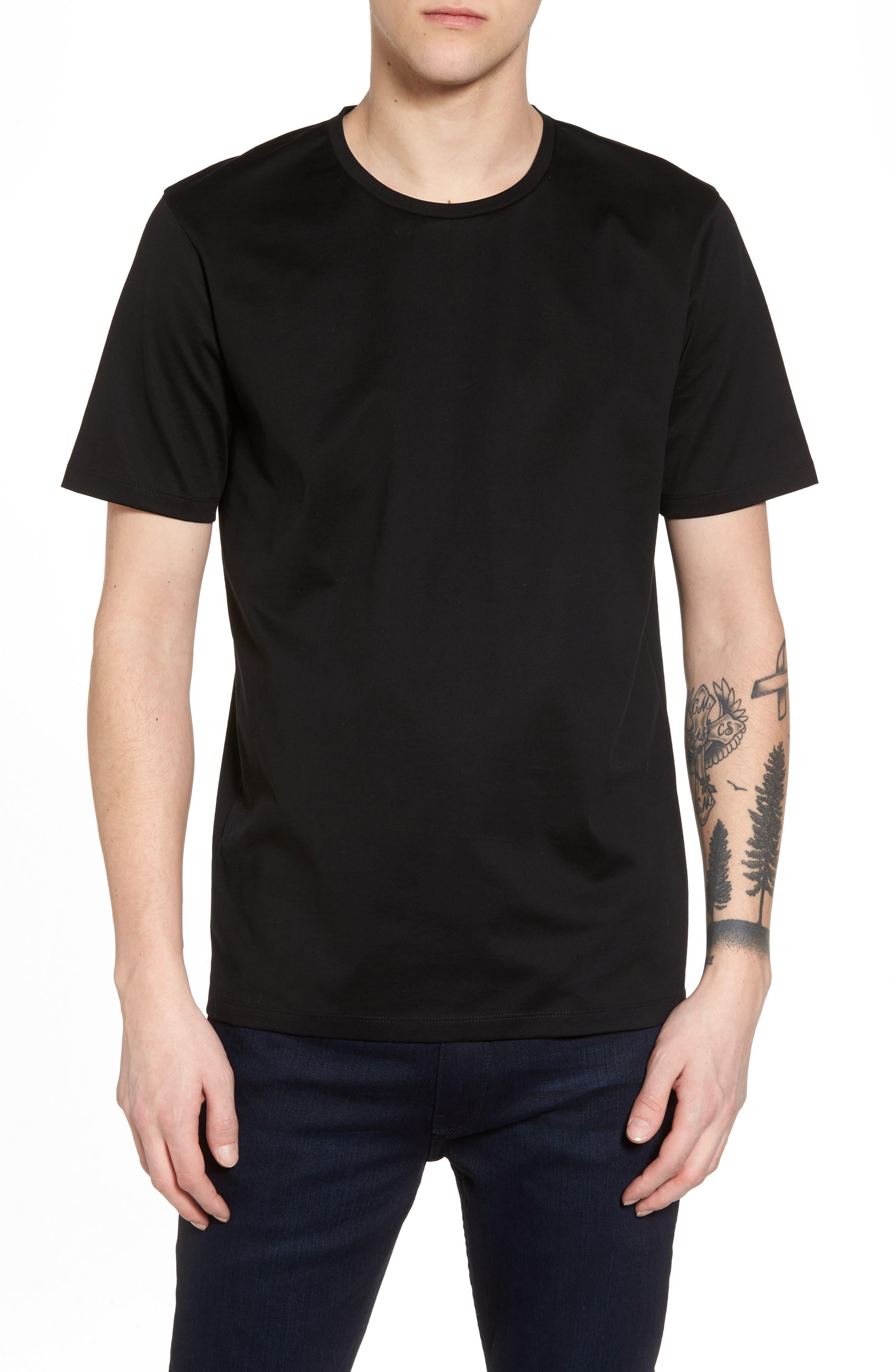 Mercerized Cotton Crewneck T-Shirt,                         Main,                         color, 001