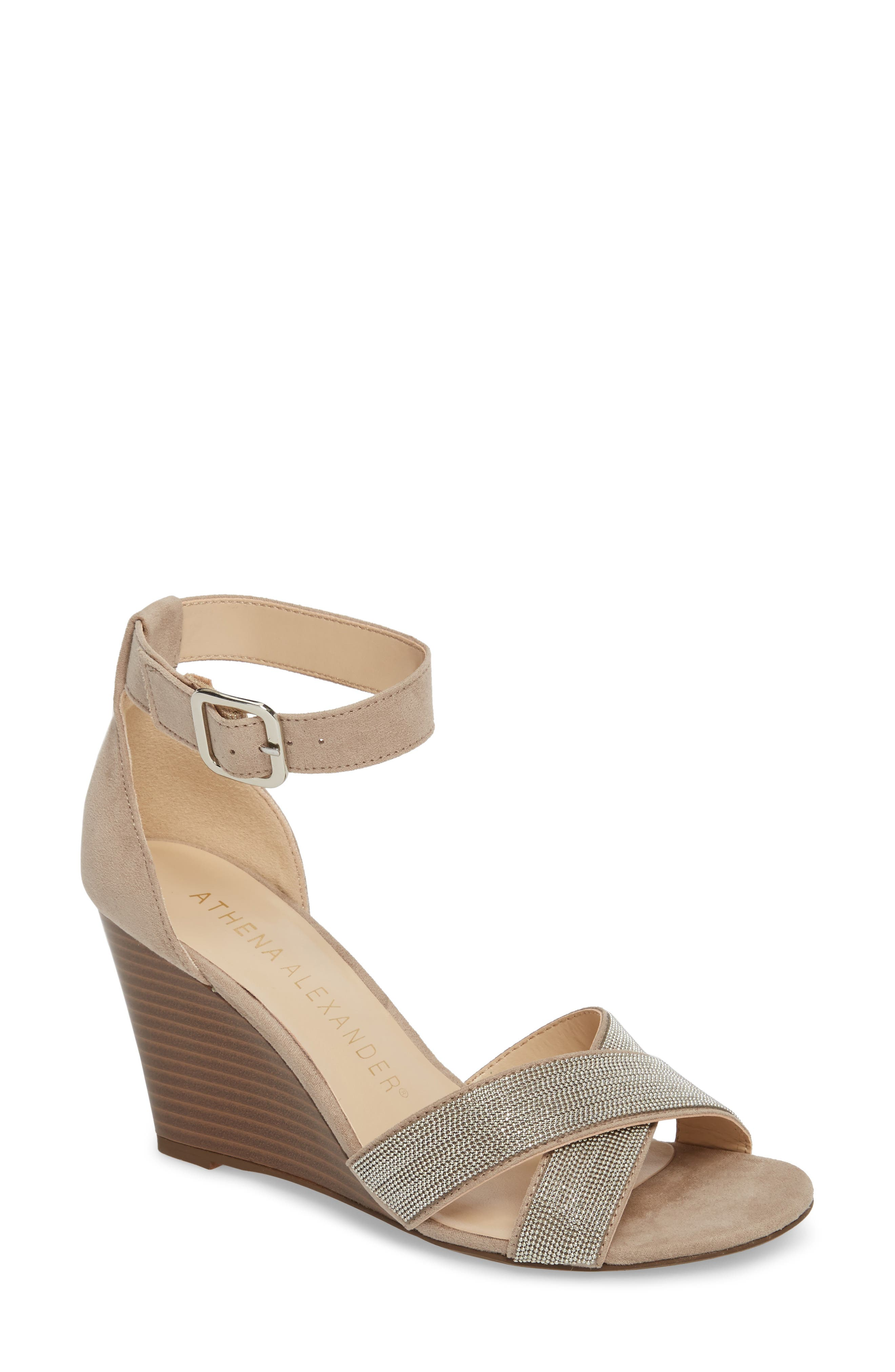 Zorra Wedge Sandal,                         Main,                         color, TAUPE SUEDE