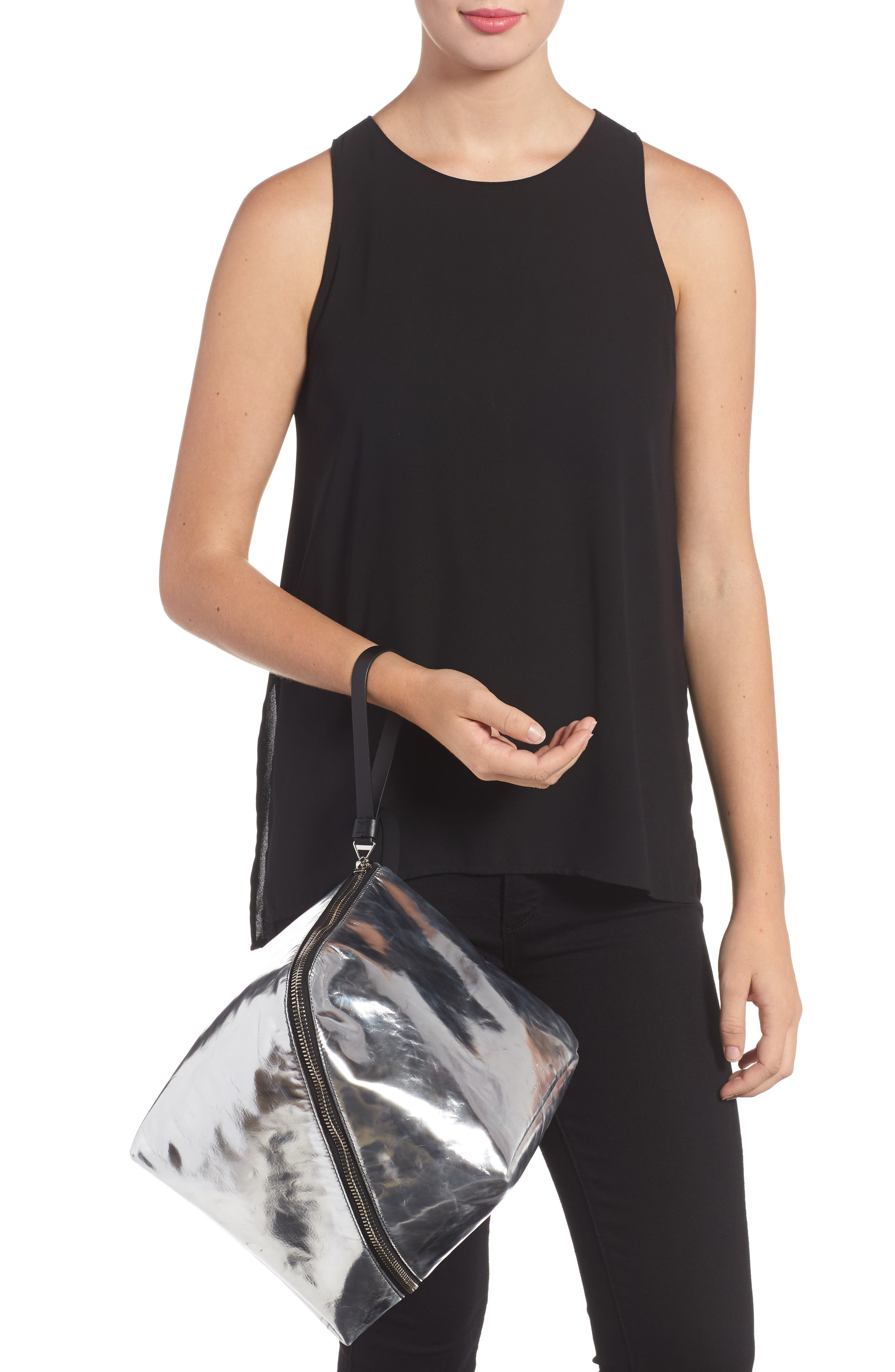 Soft Metallic Leather Cube Bag,                             Alternate thumbnail 2, color,