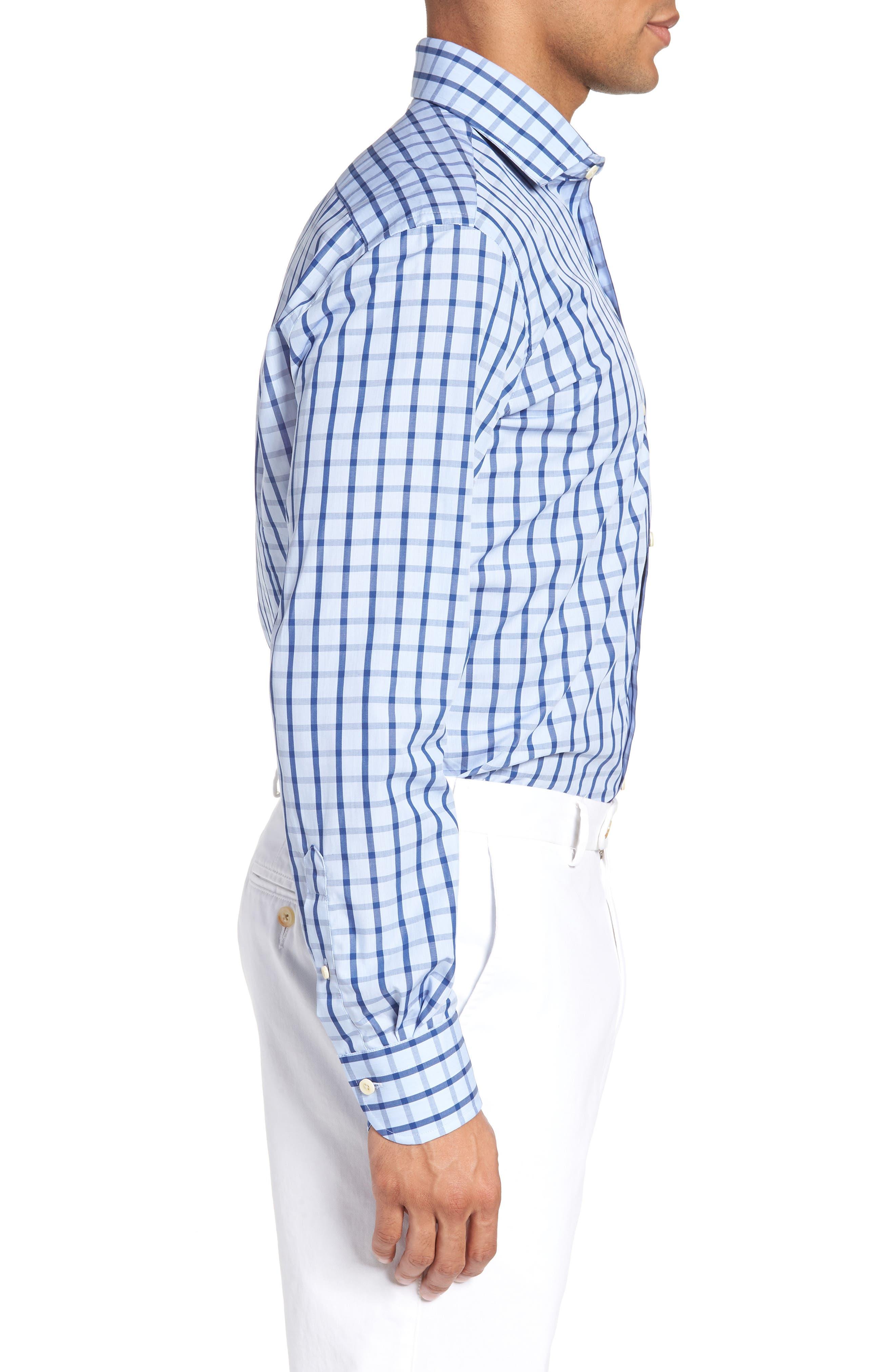 Hayden Trim Fit Windowpane Dress Shirt,                             Alternate thumbnail 9, color,