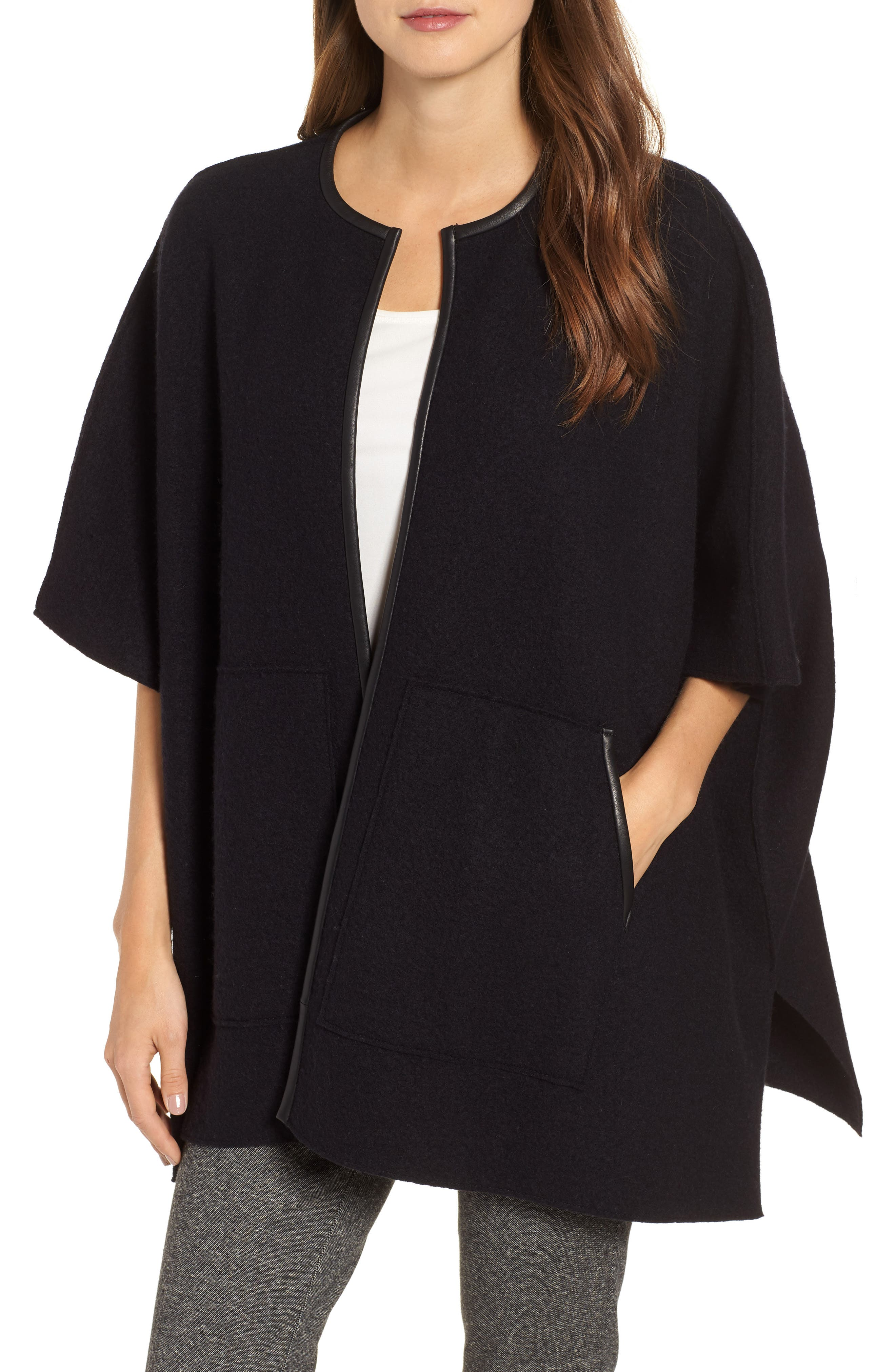 Boiled Wool Poncho Jacket with Leather Trim,                         Main,                         color, BLACK