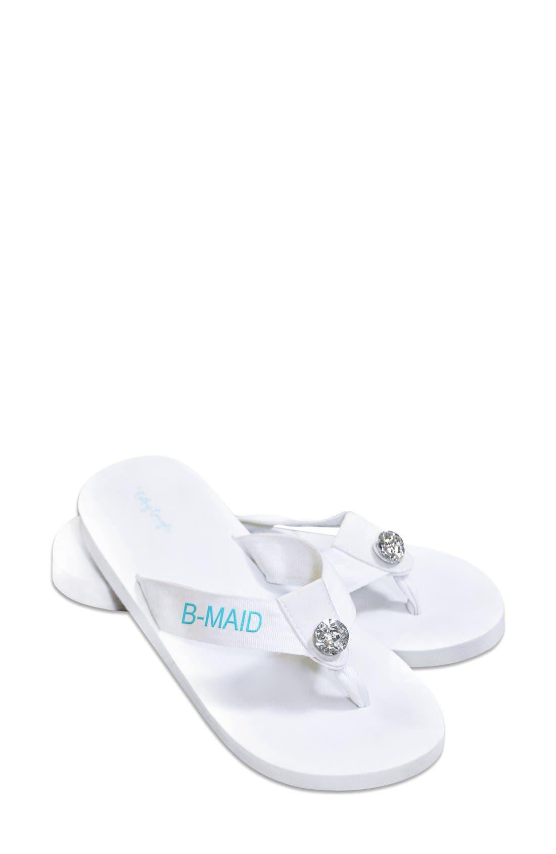 'Bridesmaid' Personalized Flip Flops,                             Main thumbnail 1, color,                             100