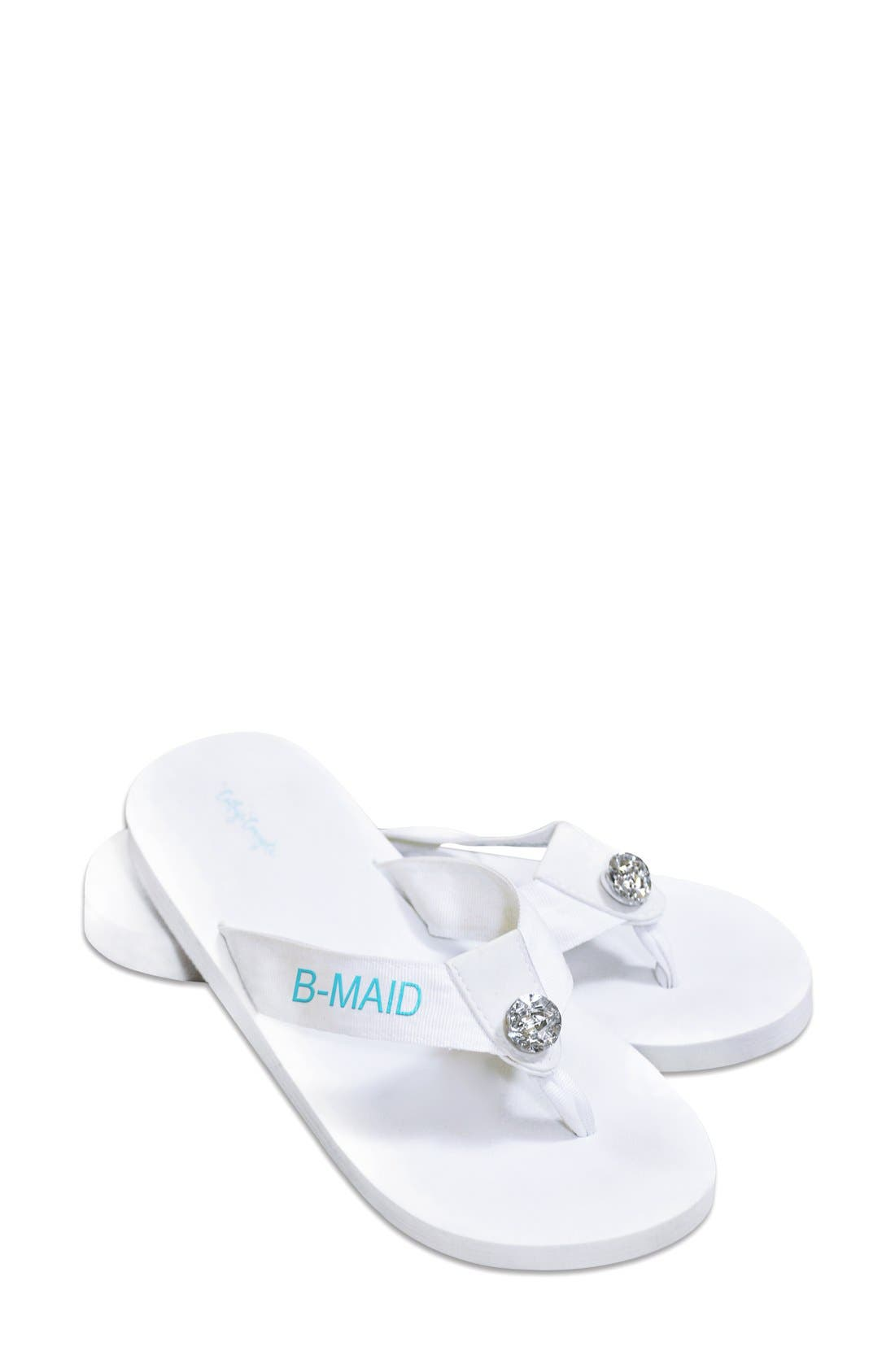 'Bridesmaid' Personalized Flip Flops,                         Main,                         color, 100