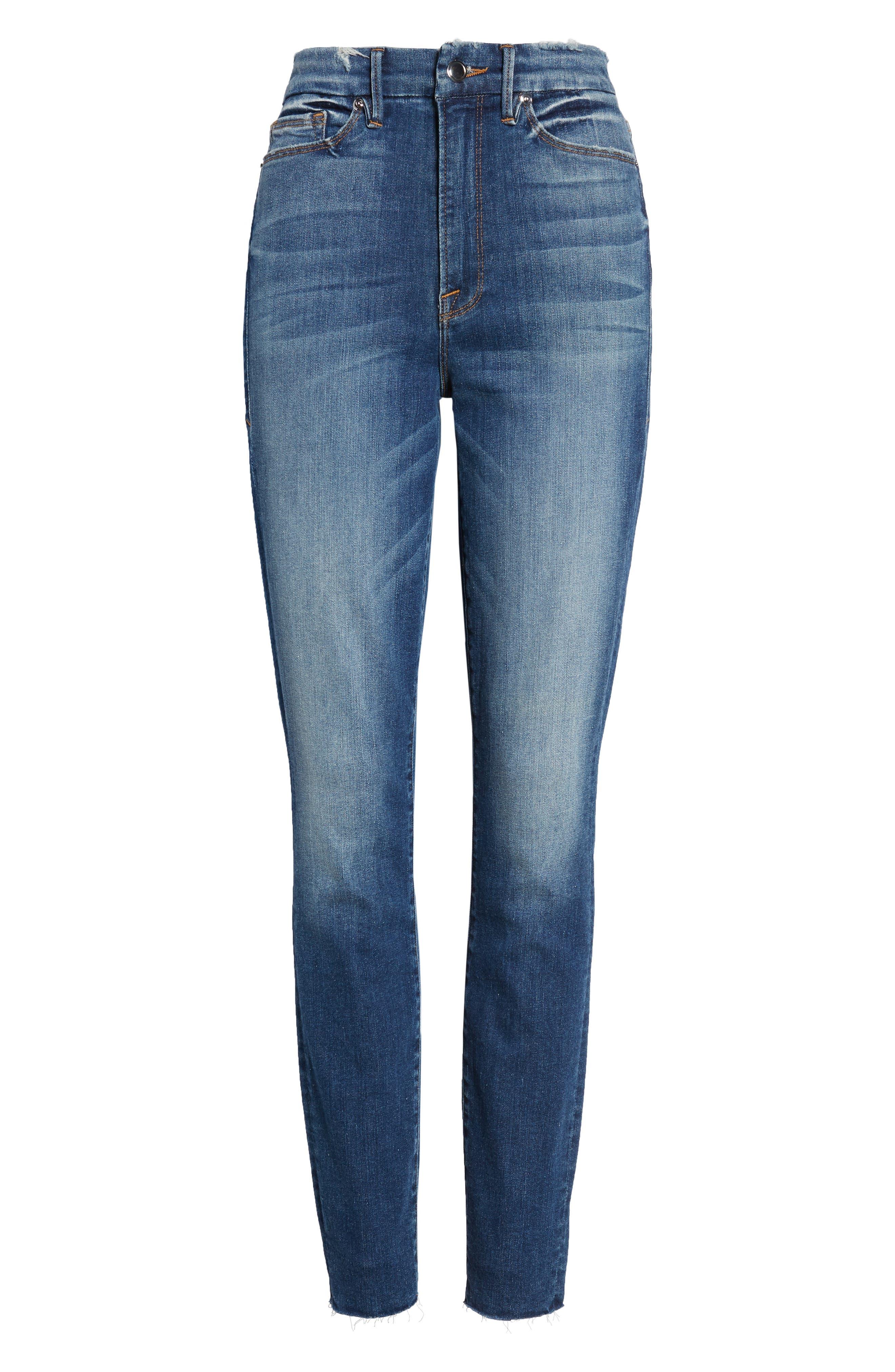 Good Legs High Waist Raw Hem Skinny Jeans,                             Alternate thumbnail 7, color,                             BLUE 182