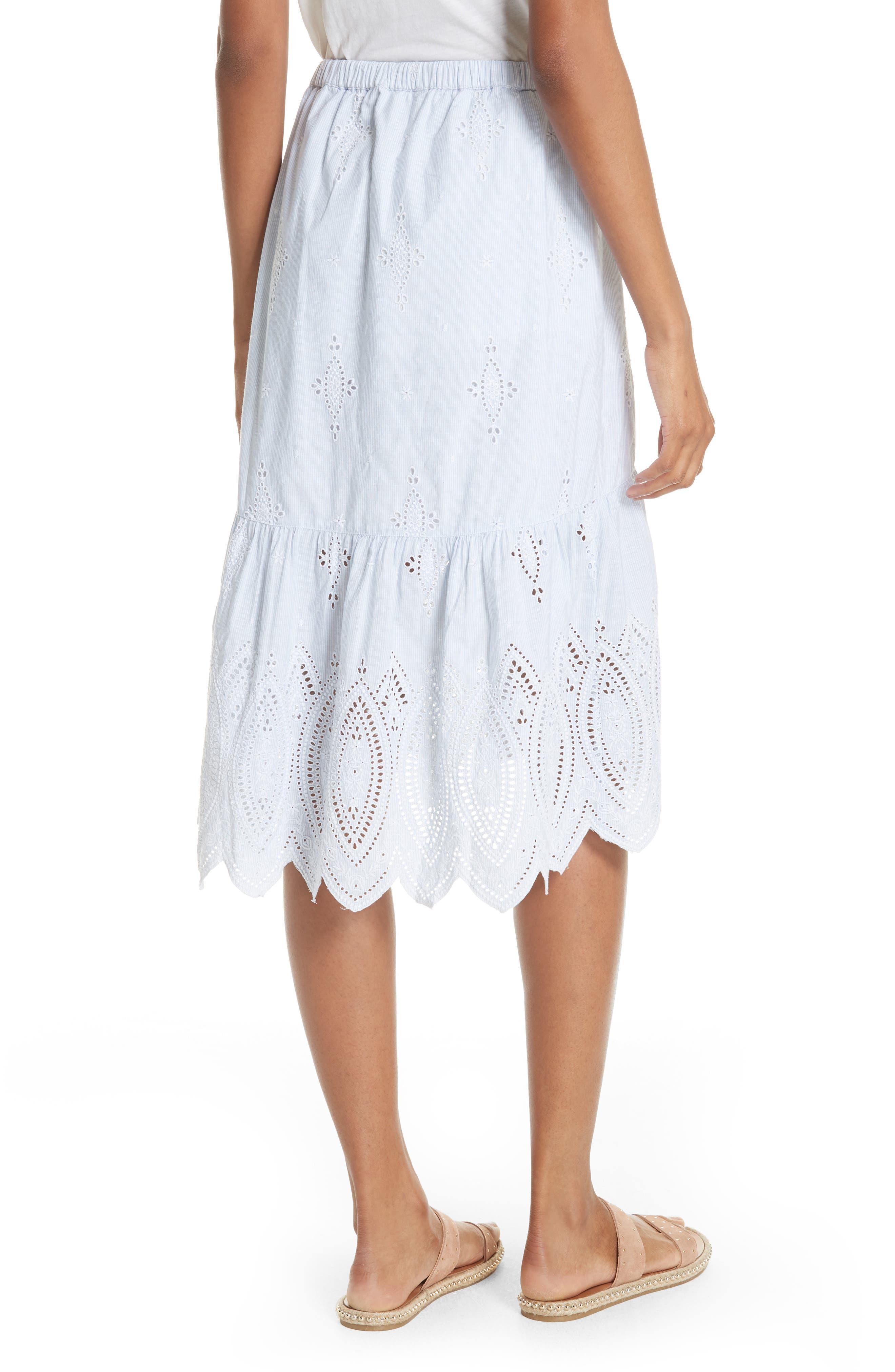 Chantoya Eyelet Scallop Hem Cotton Skirt,                             Alternate thumbnail 2, color,                             100