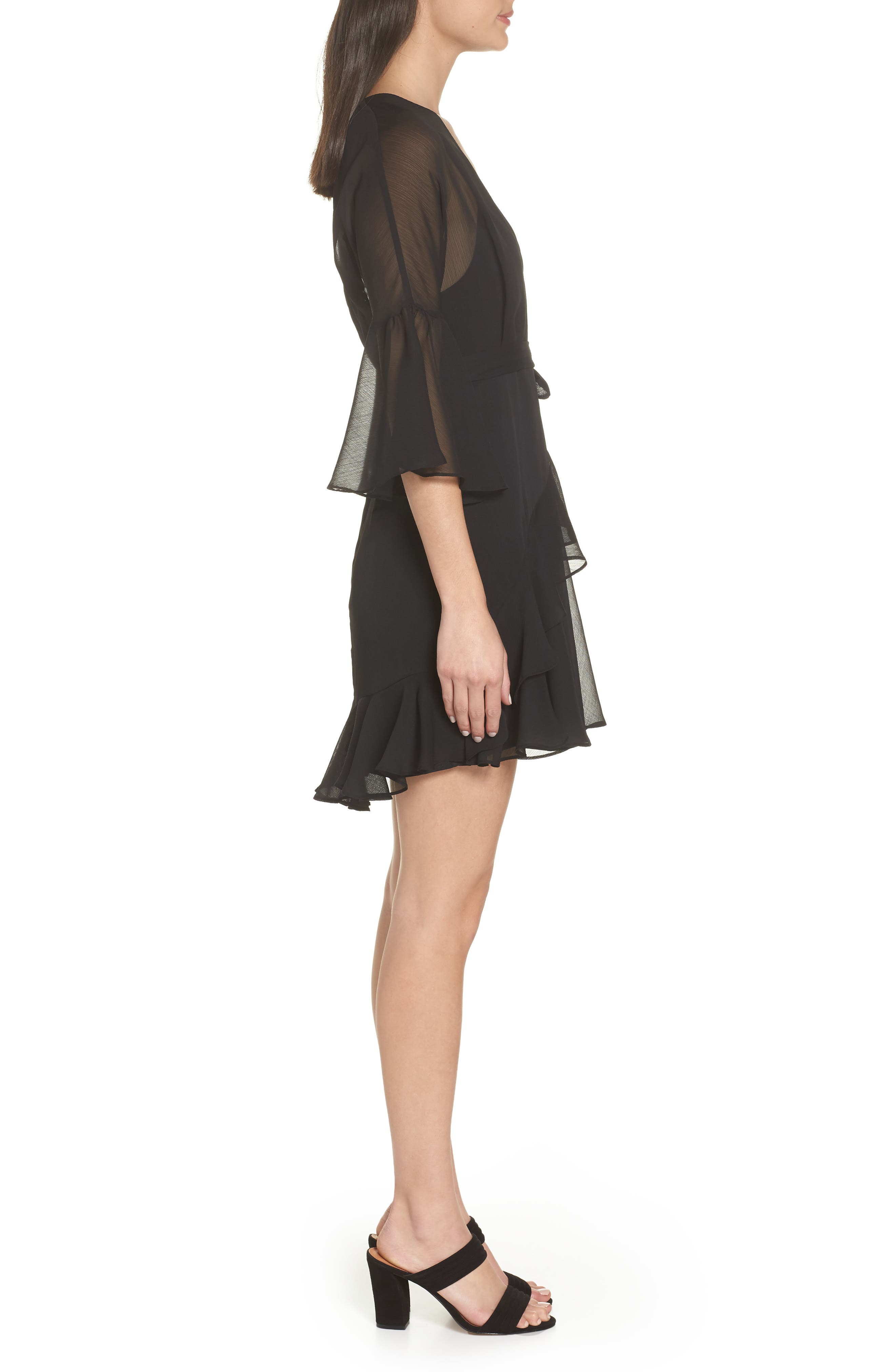 Hallie Ruffle Dress,                             Alternate thumbnail 3, color,                             BLACK
