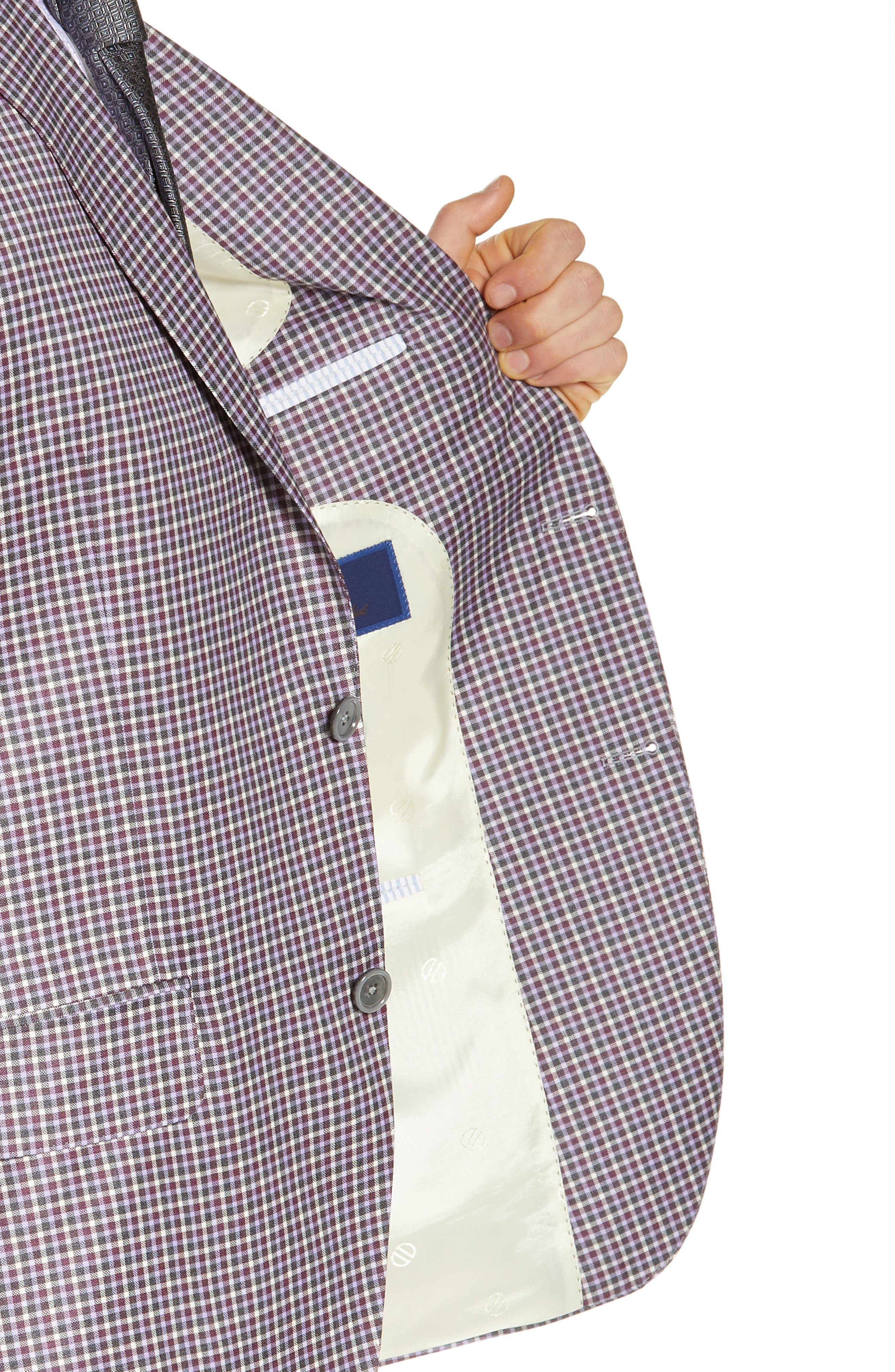 Connor Classic Fit Check Wool Sport Coat,                             Alternate thumbnail 4, color,                             BERRY