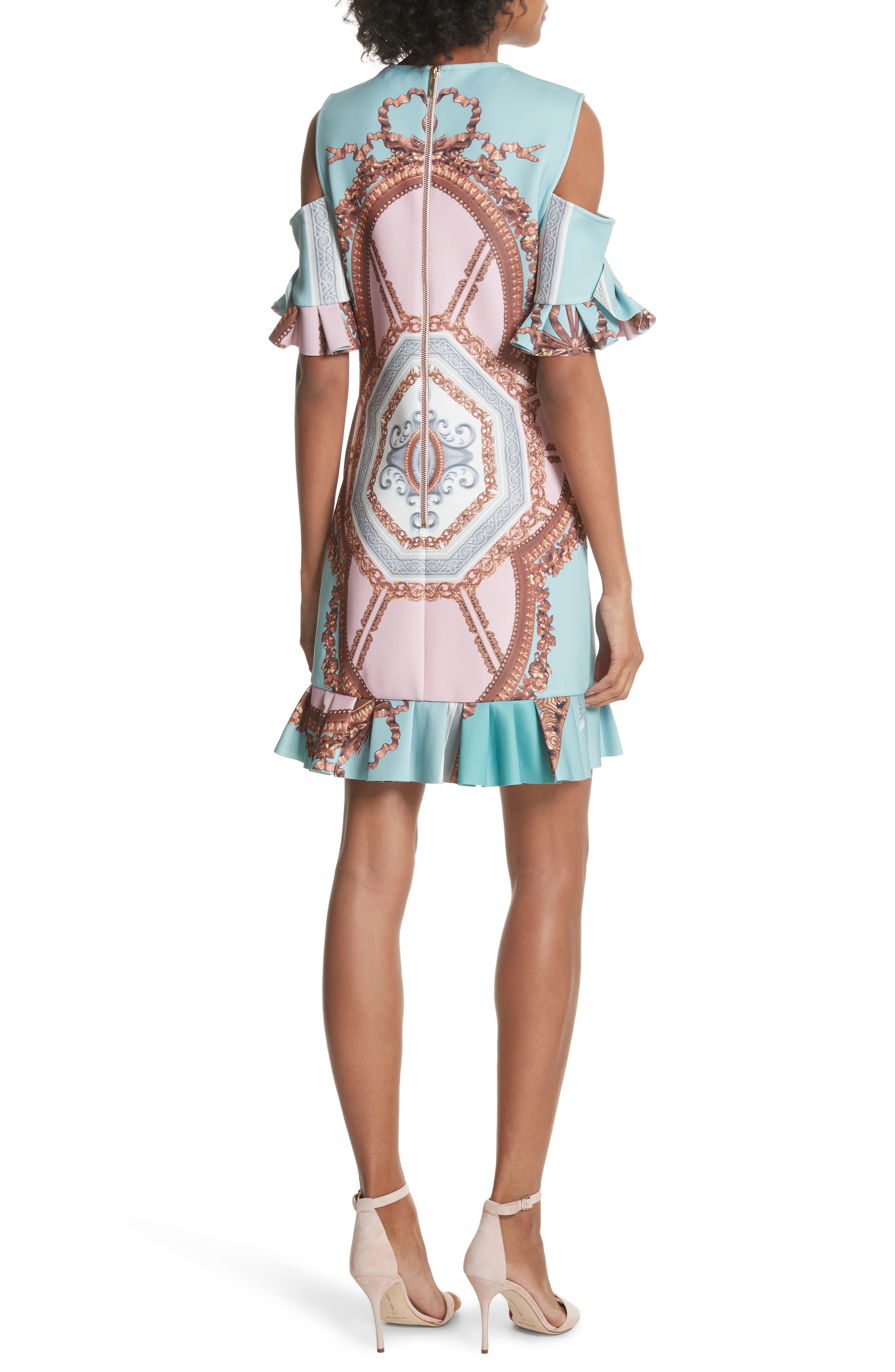 Norahe Versailles Cold Shoulder Dress,                             Alternate thumbnail 2, color,                             440