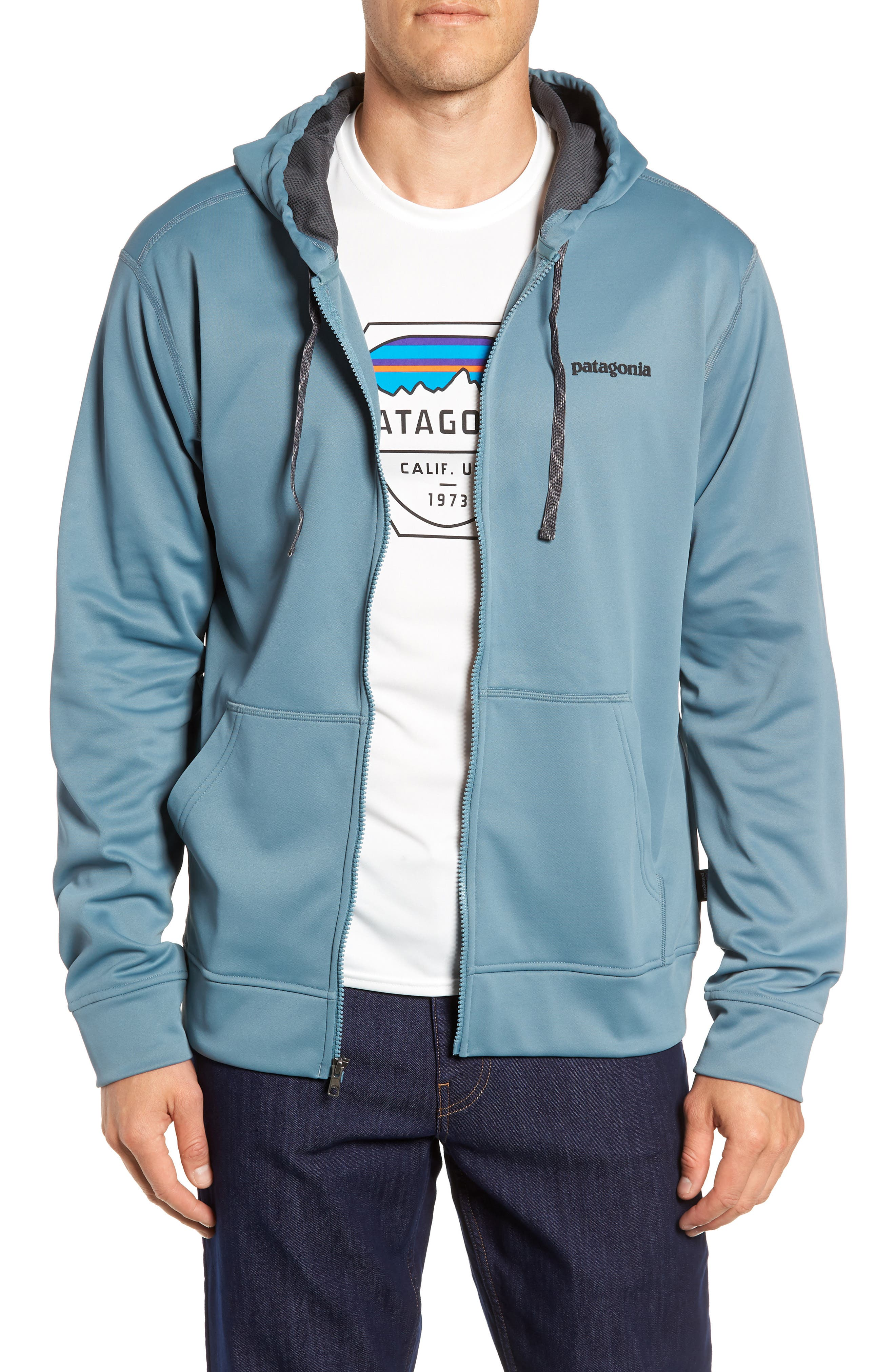 Fitz Roy Trout PolyCycle<sup>®</sup> Full-Zip Hoodie,                             Main thumbnail 1, color,                             SHADOW BLUE