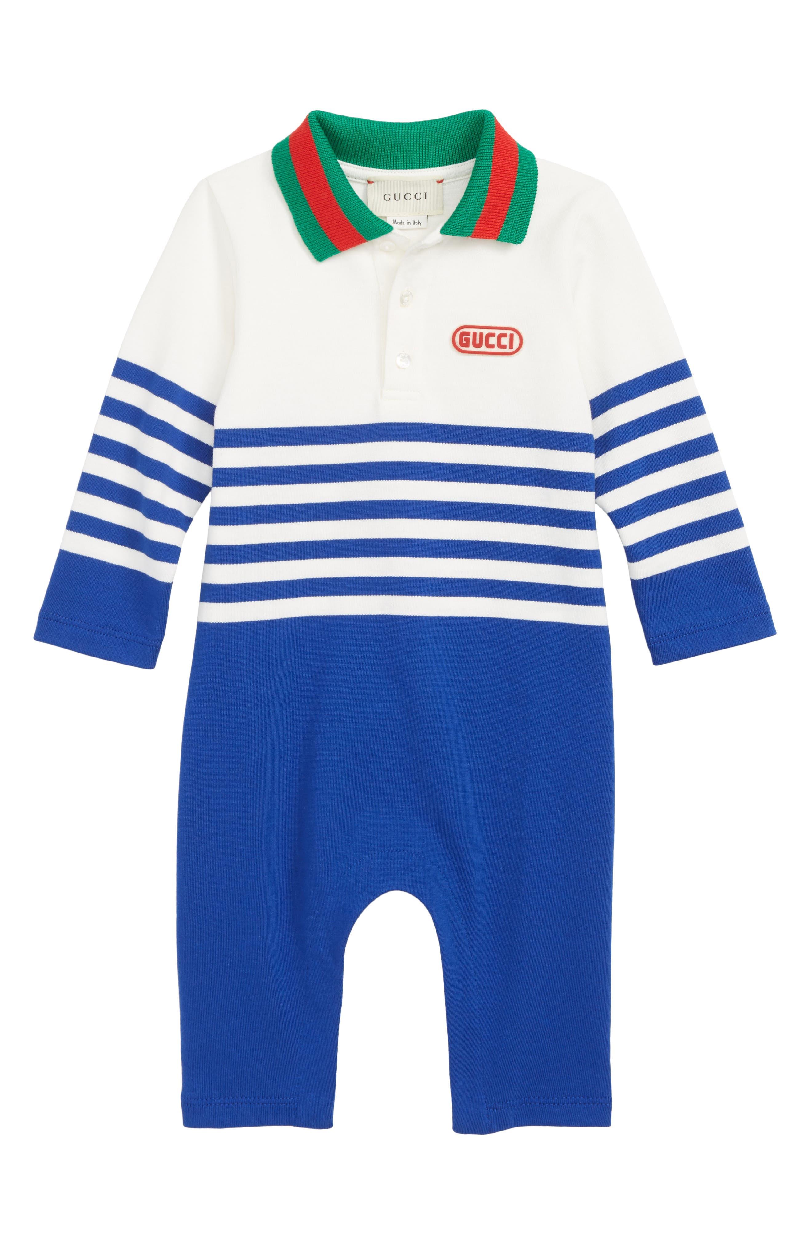 Cotton Polo Romper,                         Main,                         color, MILK/ ELECTRIC BLUE