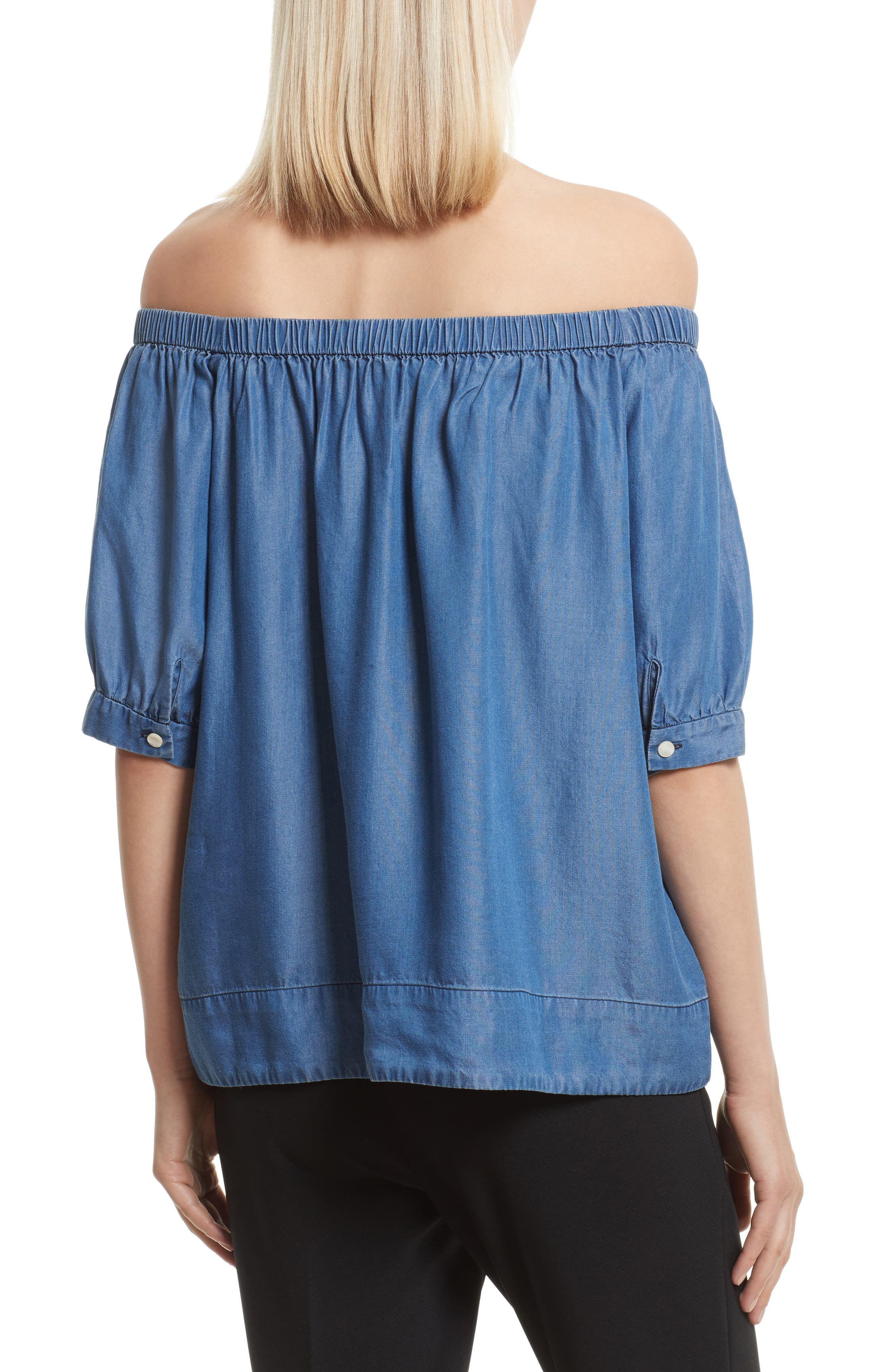 off the shoulder chambray top,                             Alternate thumbnail 2, color,                             434