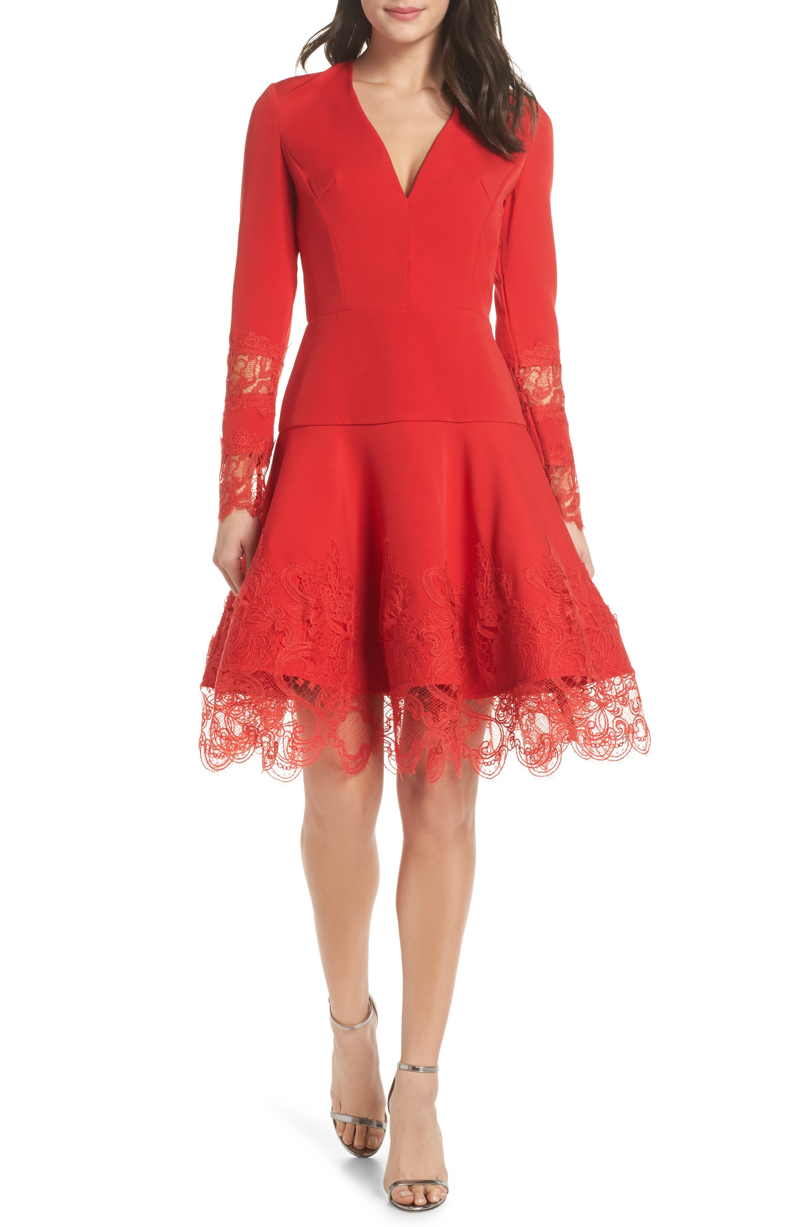 BRONX AND BANCO Antonia Fit & Flare Dress in Red