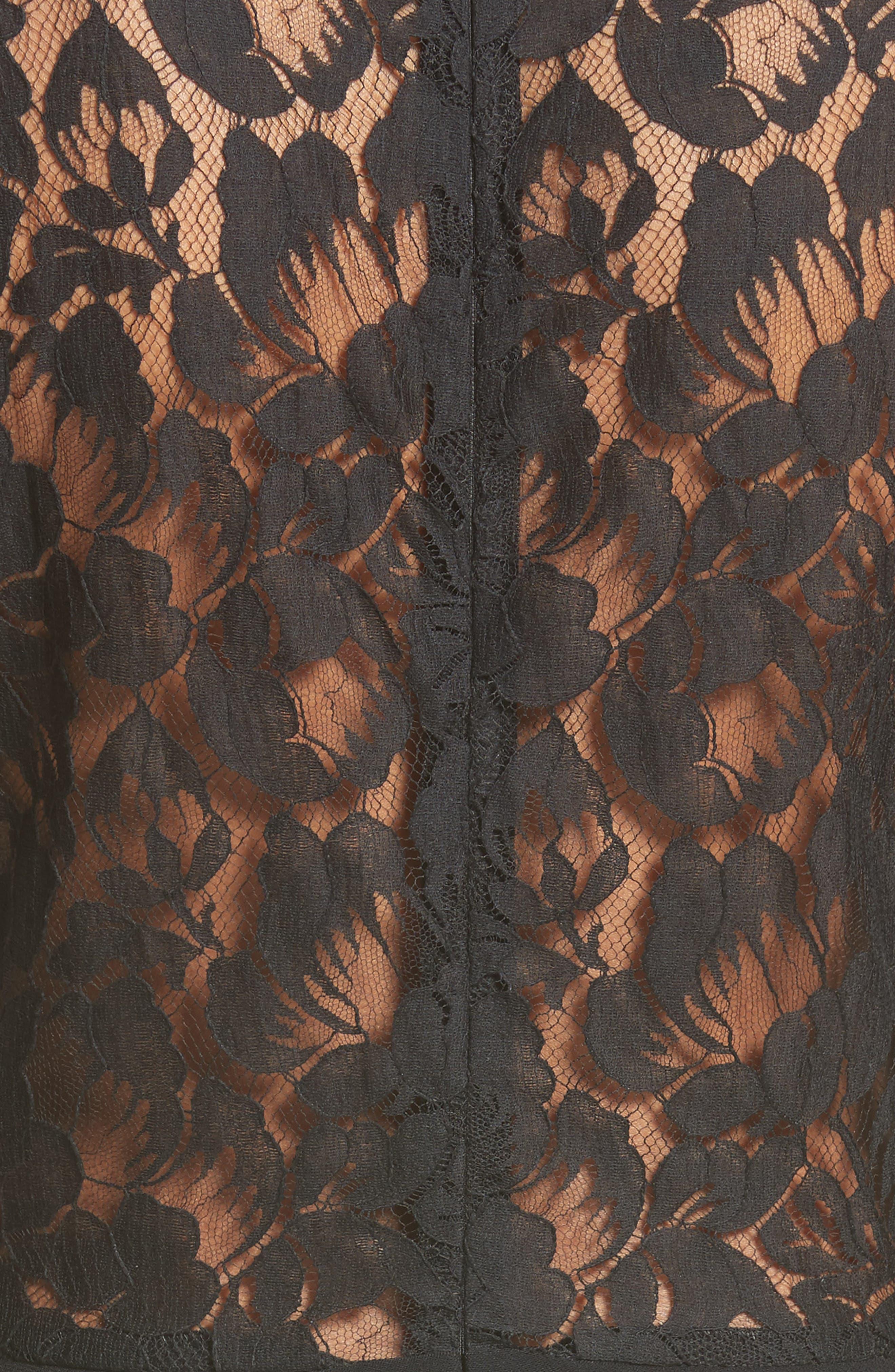 Lace Illusion Sheath Dress,                             Alternate thumbnail 5, color,                             001