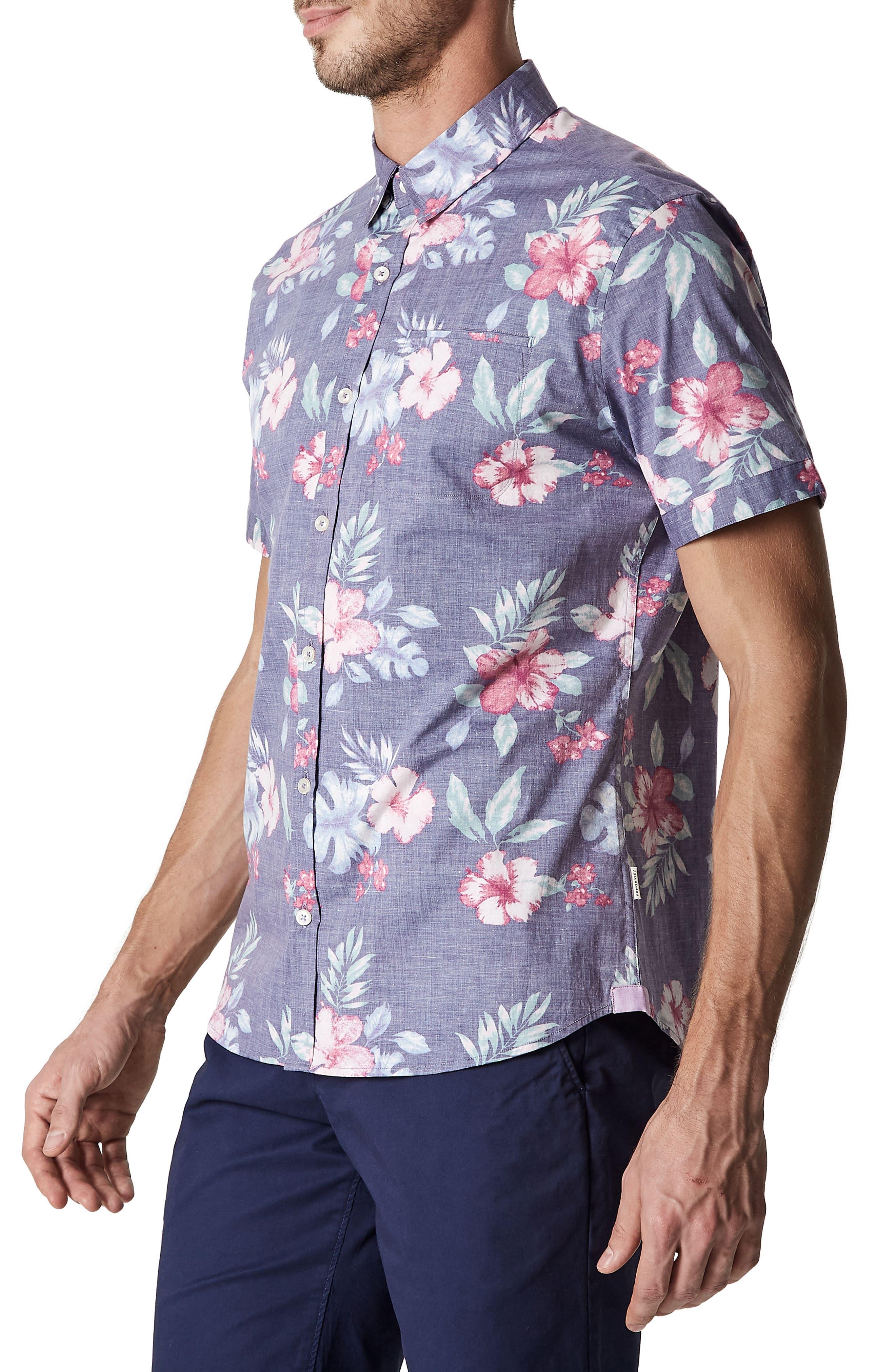 More Colors Floral Woven Sport Shirt,                             Alternate thumbnail 3, color,                             504