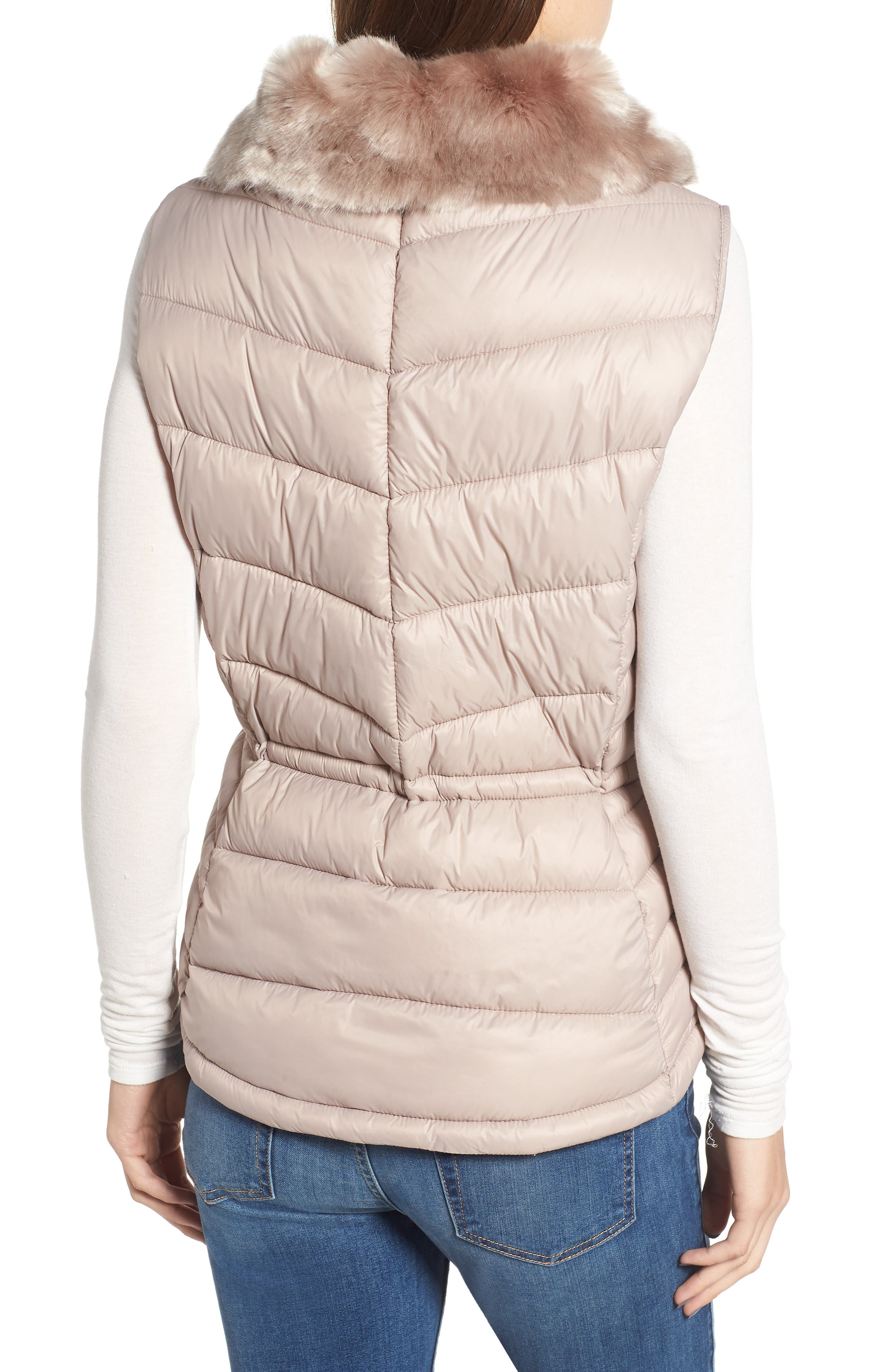 Victory Cinch Waist Chevron Quilted Gilet with Removable Faux Fur Collar,                             Alternate thumbnail 2, color,                             LATTE