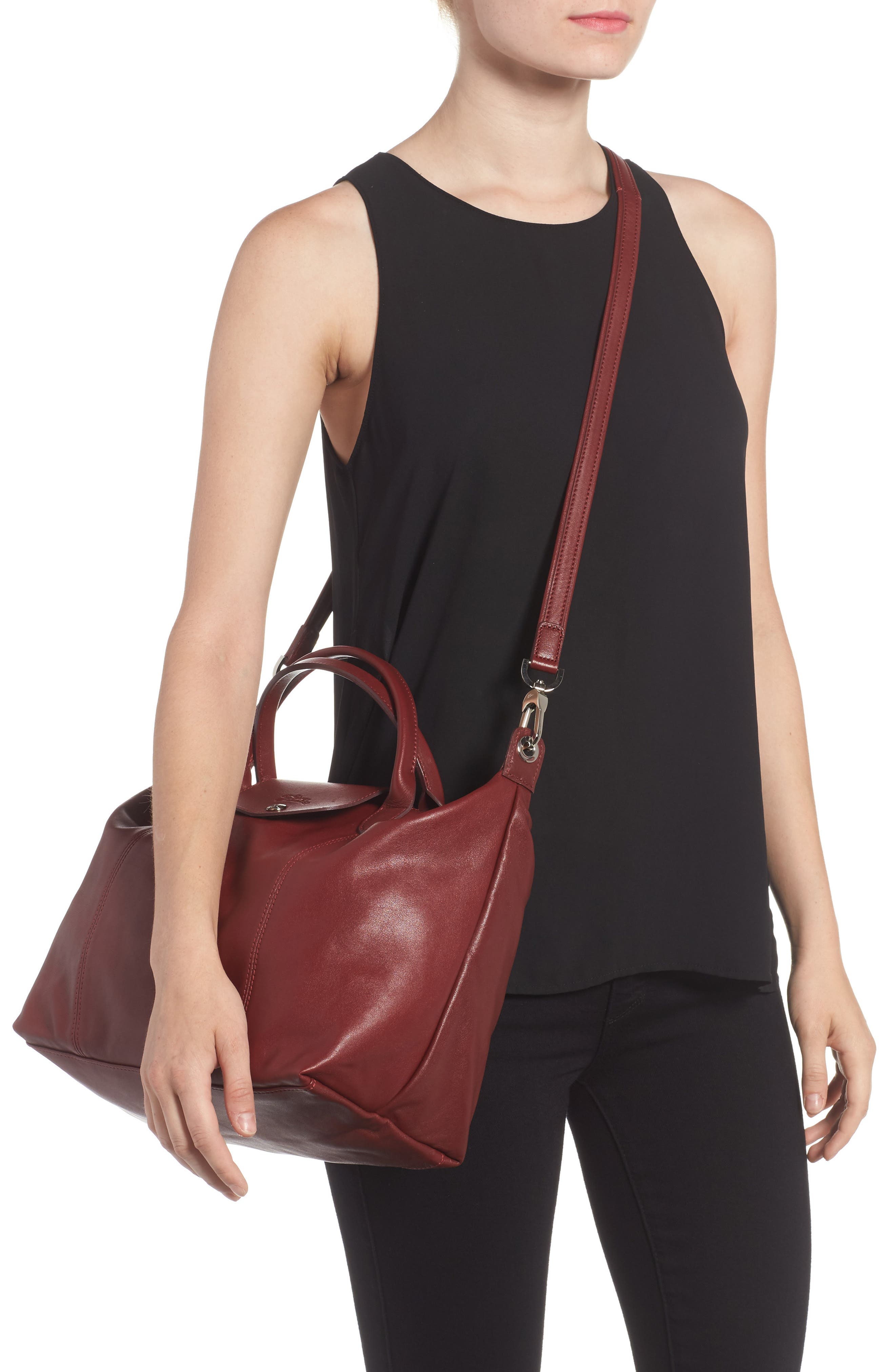 Medium 'Le Pliage Cuir' Leather Top Handle Tote,                             Alternate thumbnail 49, color,
