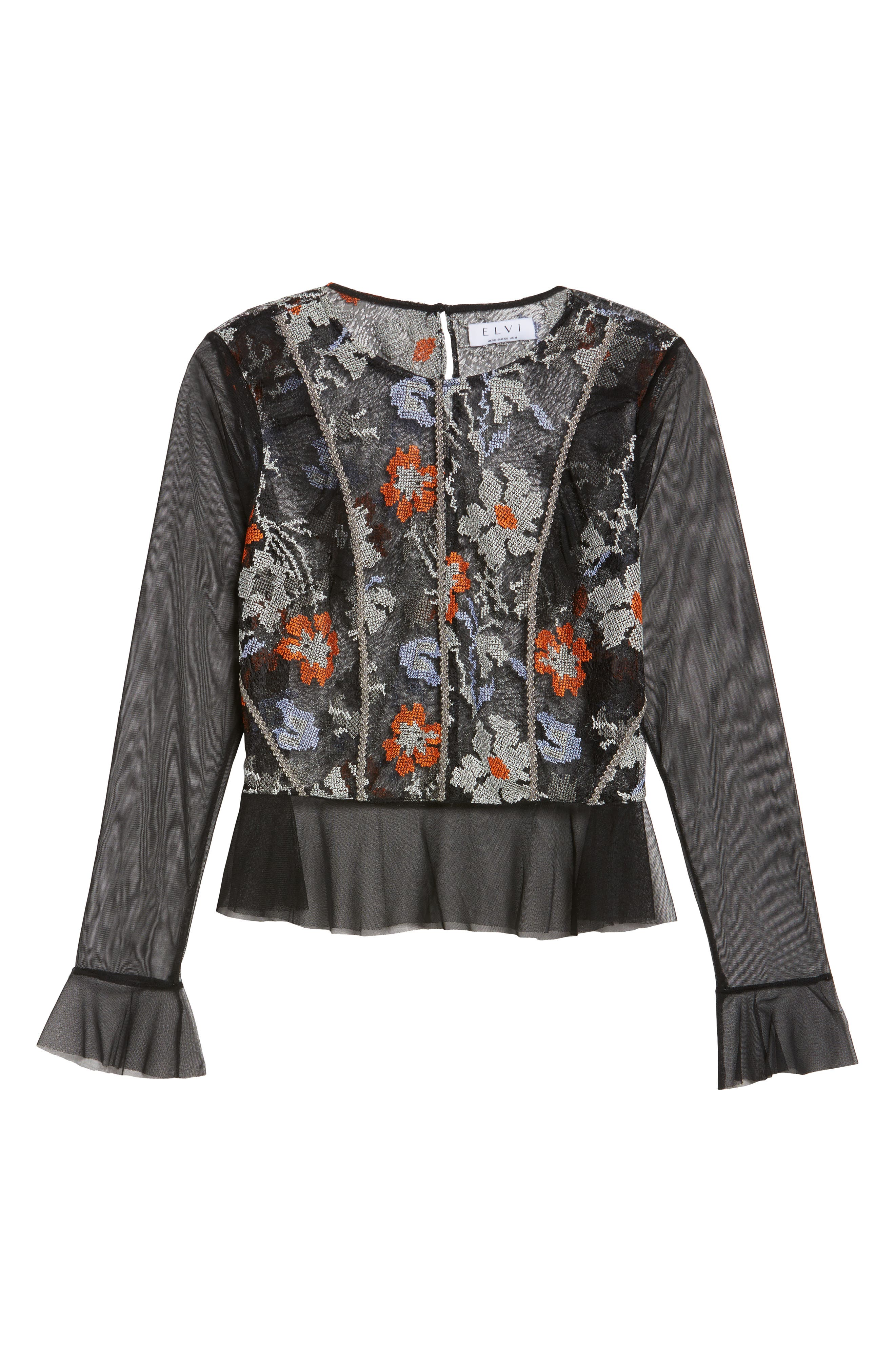 Abstract Floral Lace Top,                             Alternate thumbnail 6, color,                             001