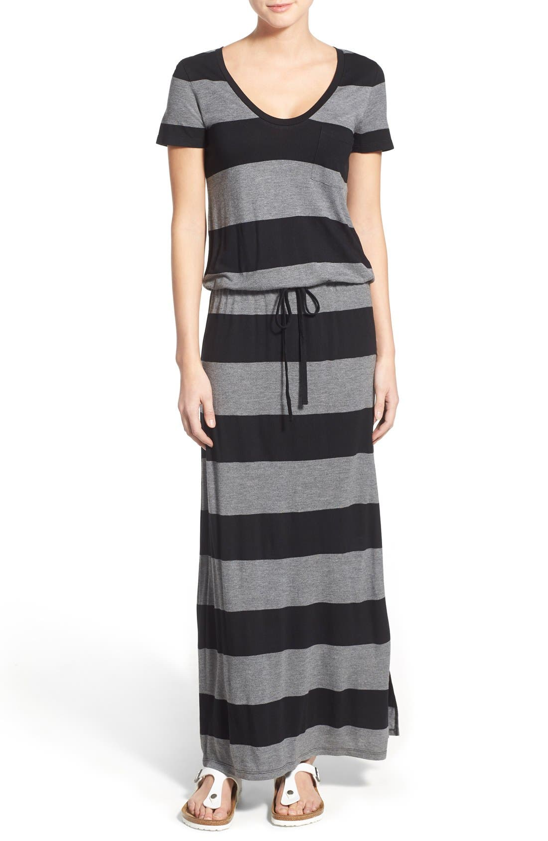 Drawstring V-Neck Jersey Maxi Dress,                             Main thumbnail 4, color,