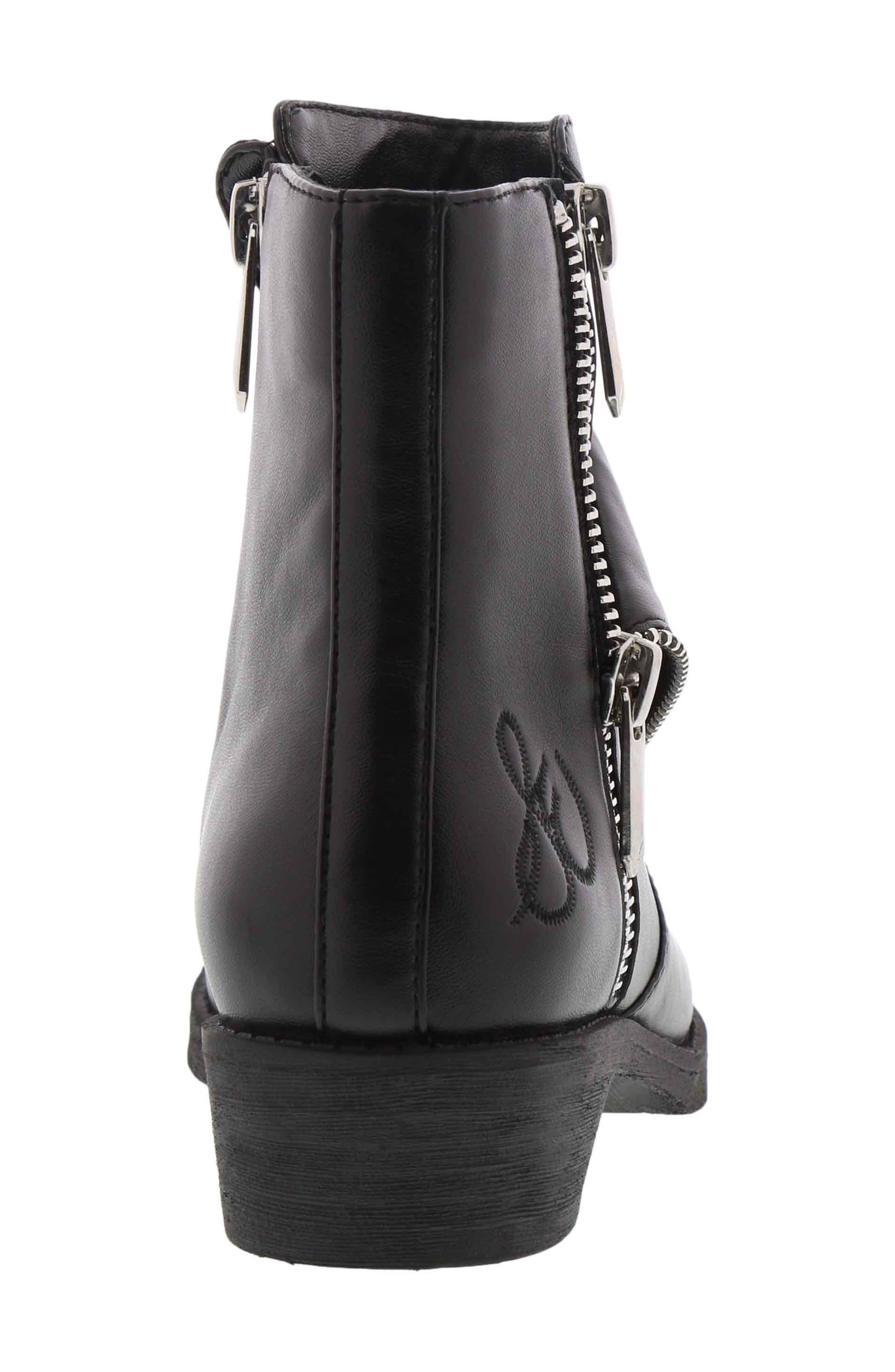 Becka Tessa Faux Leather Moto Boot,                             Alternate thumbnail 2, color,                             BLACK