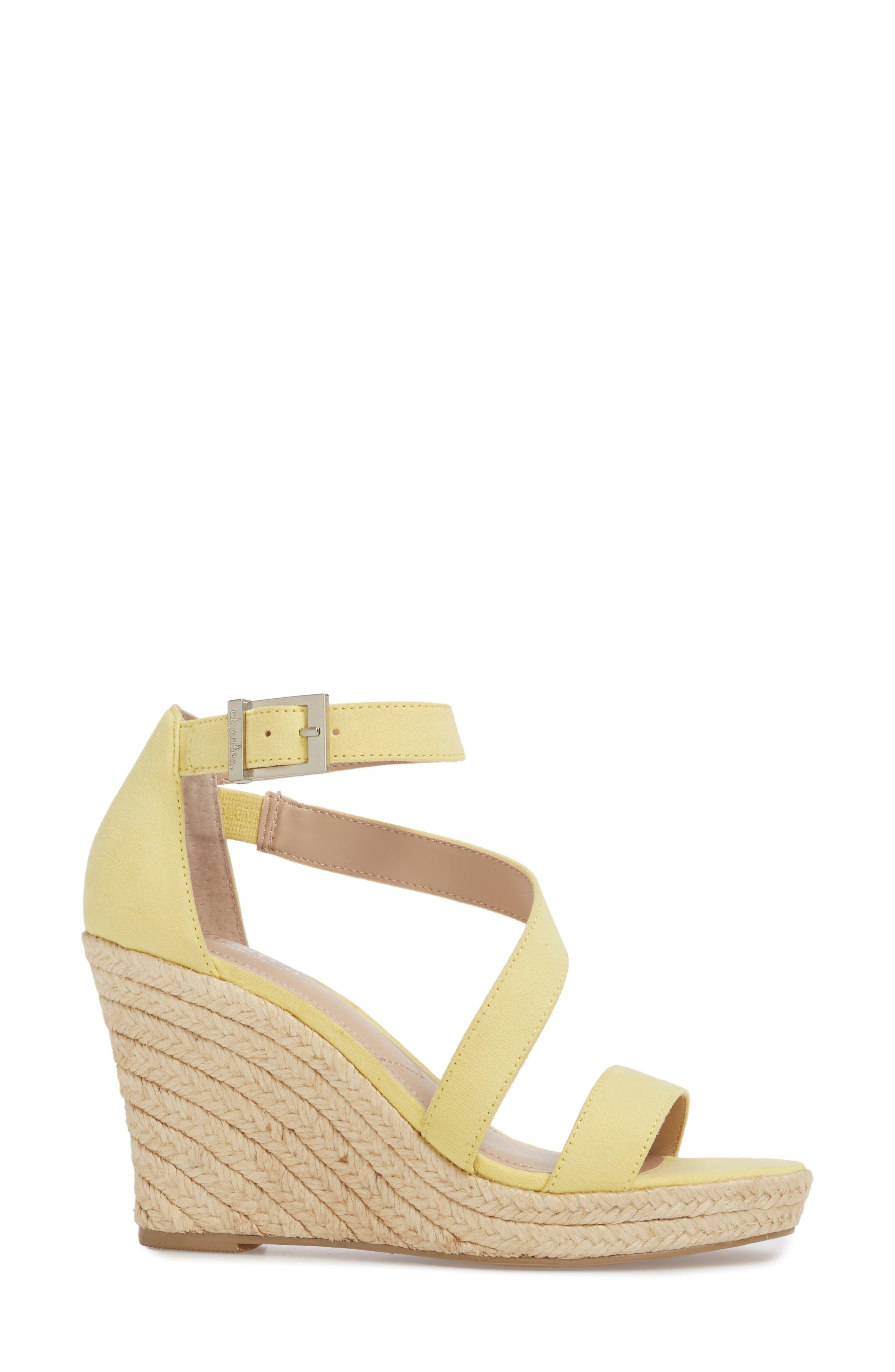 Lou Asymmetrical Wedge Sandal,                             Alternate thumbnail 3, color,                             BUTTERCUP SUEDE