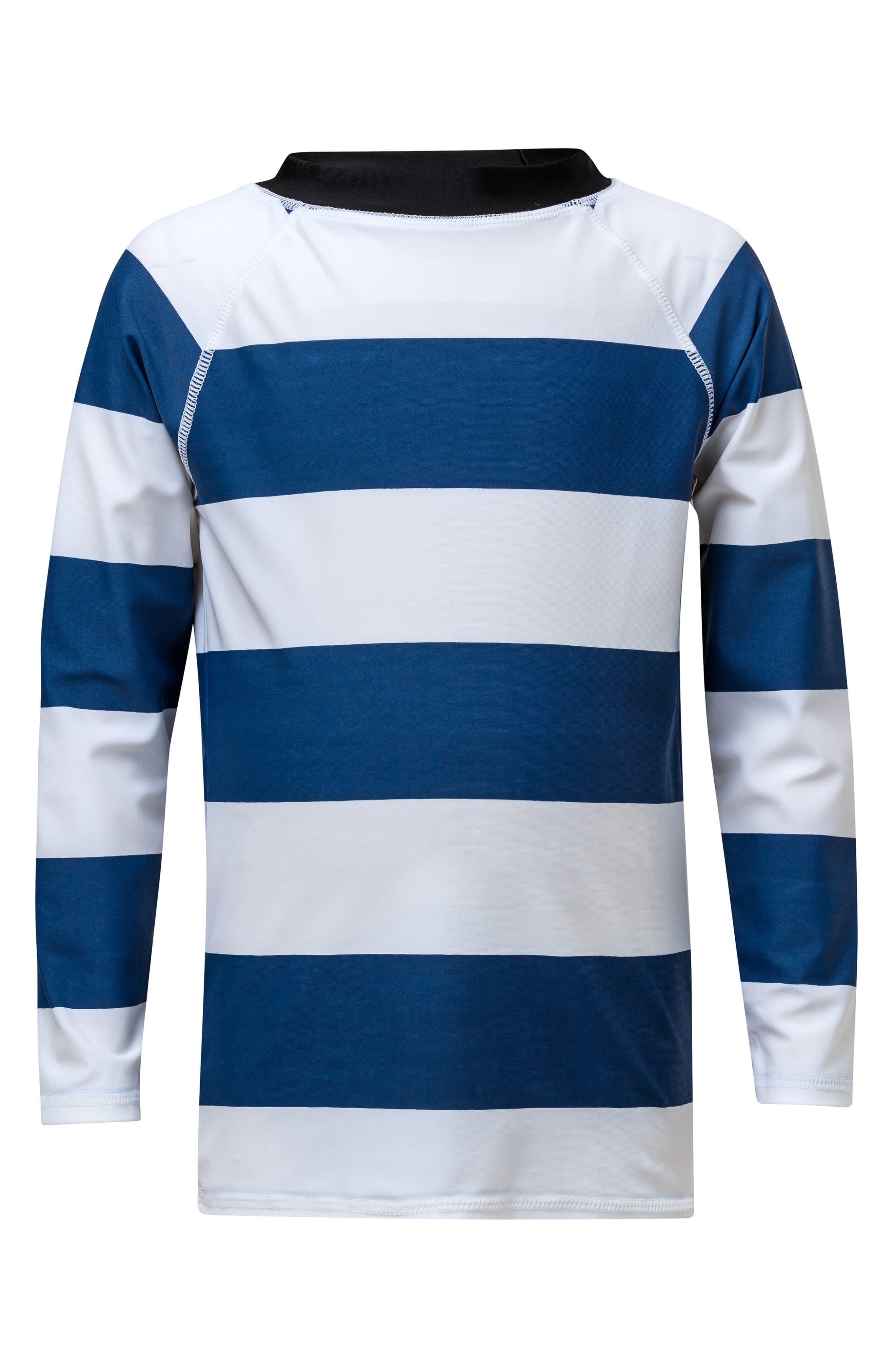 Rugby Stripe Rashguard,                             Main thumbnail 1, color,                             DENIM BLUE WHITE