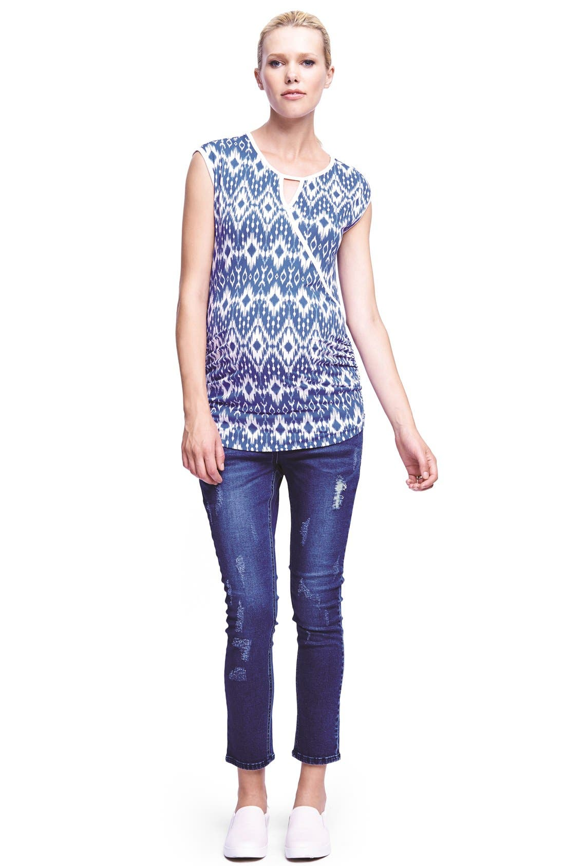 THE URBAN MA,                             Keyhole Crossover Maternity Tee,                             Alternate thumbnail 2, color,                             DENIM BLUE/ WHITE