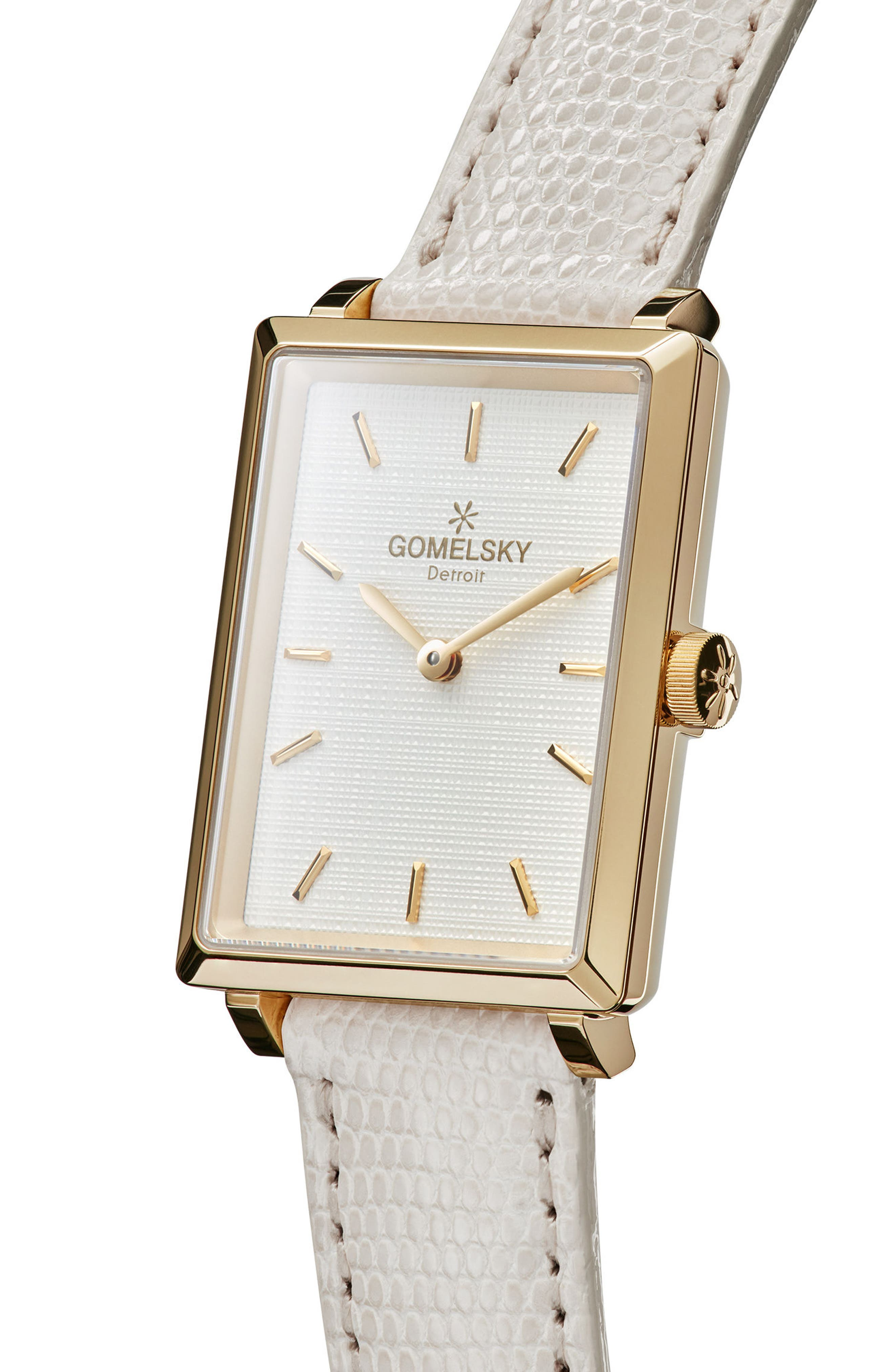 The Shirley Fromer Leather Strap Watch, 32mm x 25mm,                             Alternate thumbnail 5, color,                             WHITE/ GOLD