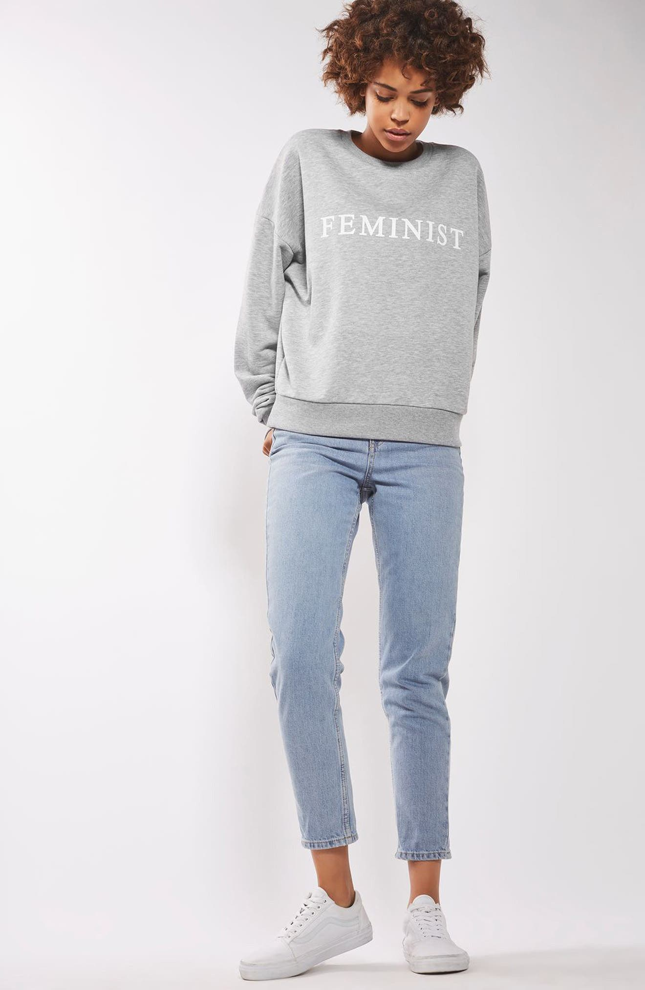 TOPSHOP,                             Feminist Sweatshirt,                             Alternate thumbnail 4, color,                             020