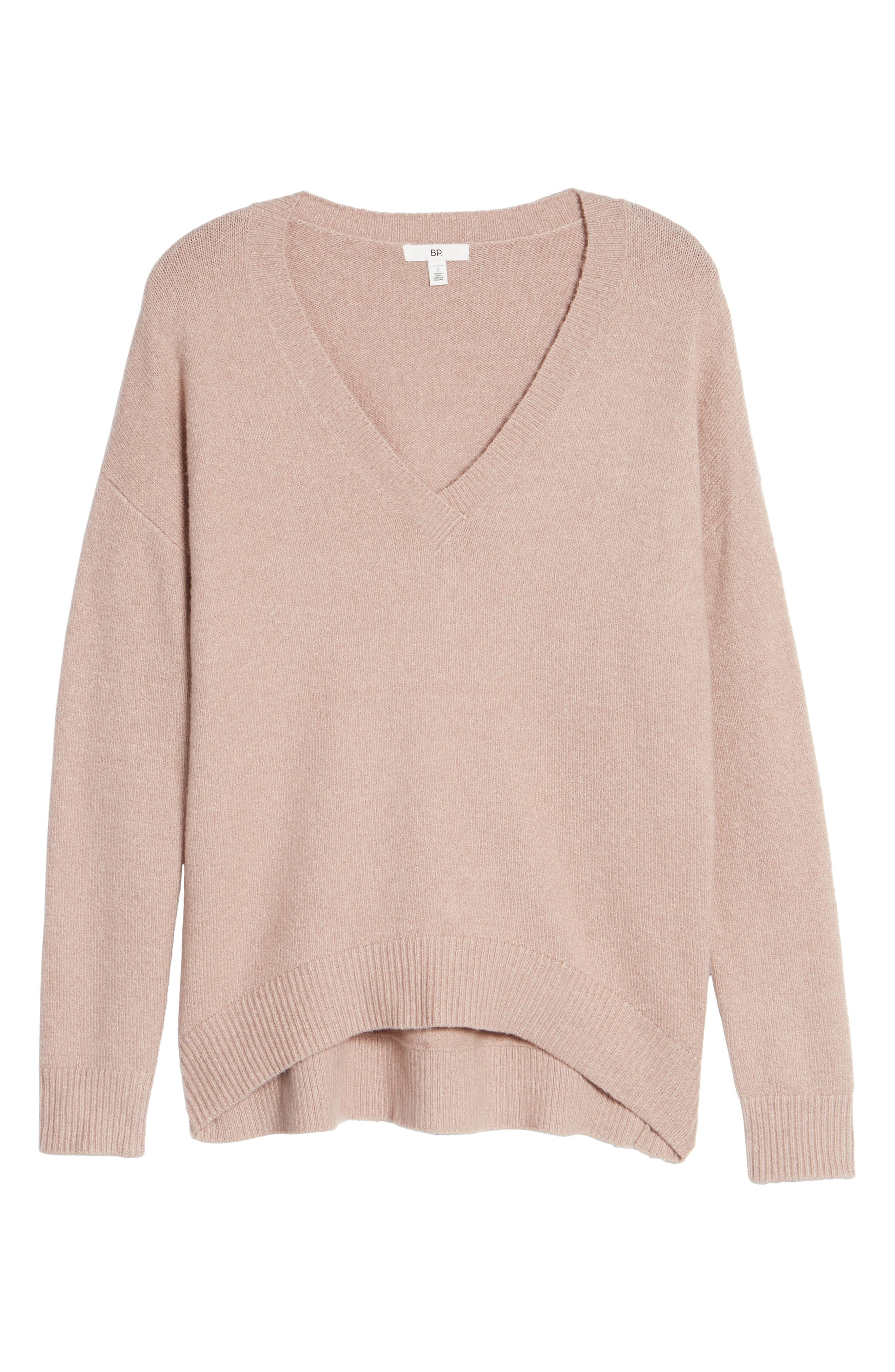 V-Neck High/Low Sweater,                             Alternate thumbnail 18, color,