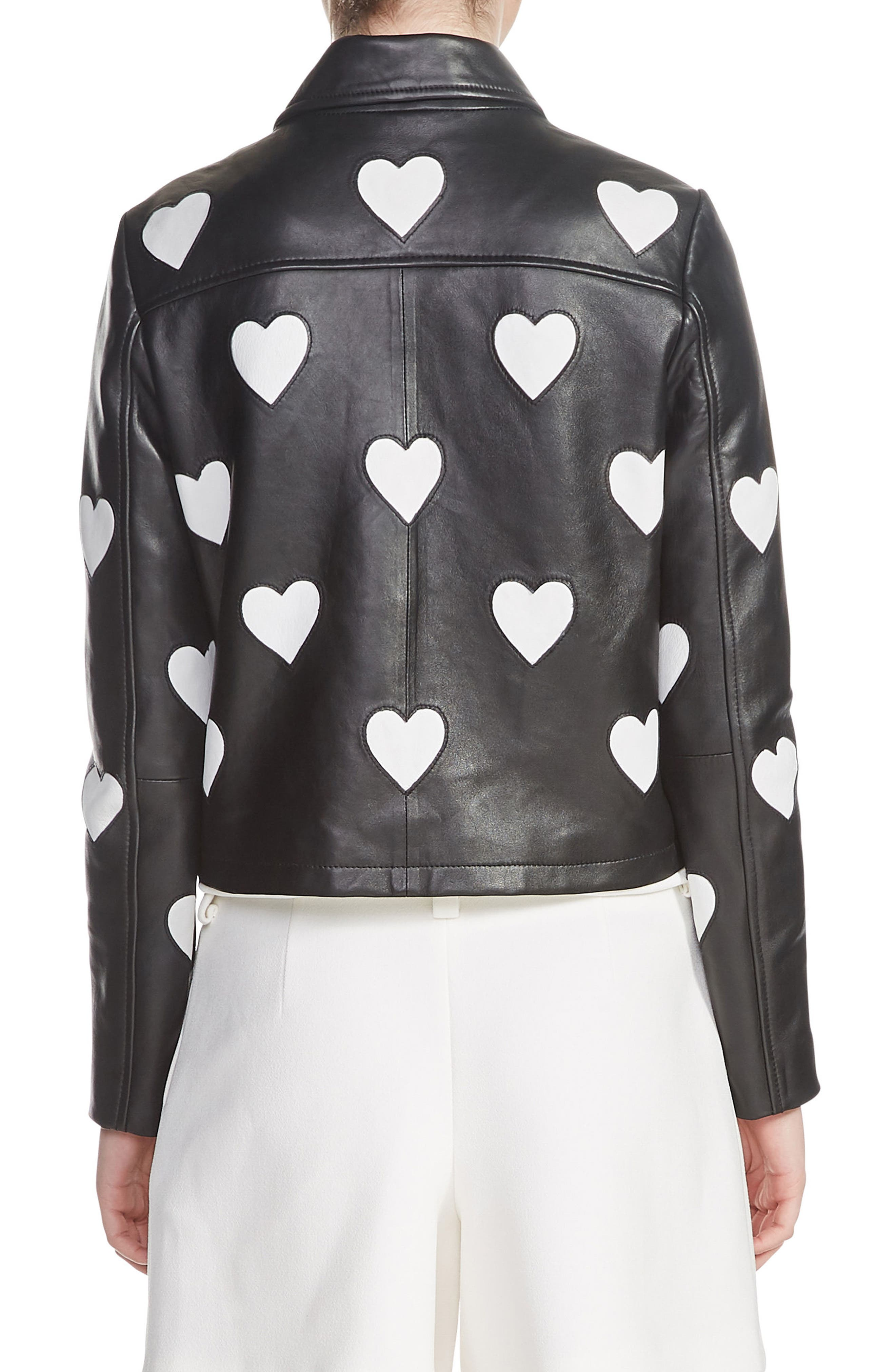 Heart Inset Leather Jacket,                             Alternate thumbnail 2, color,                             001