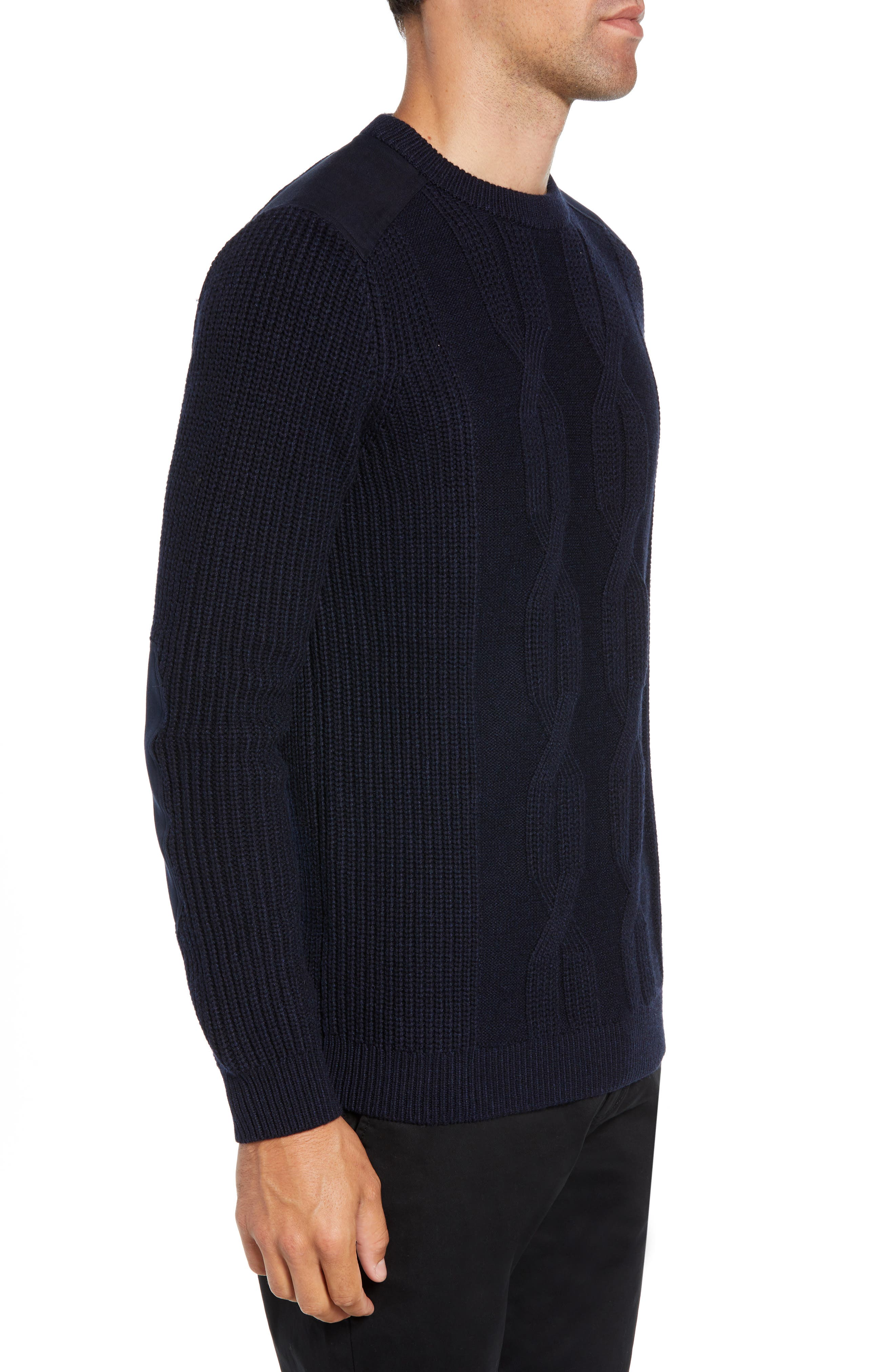 Laichi Trim Fit Cable Crewneck Sweater,                             Alternate thumbnail 3, color,                             NAVY