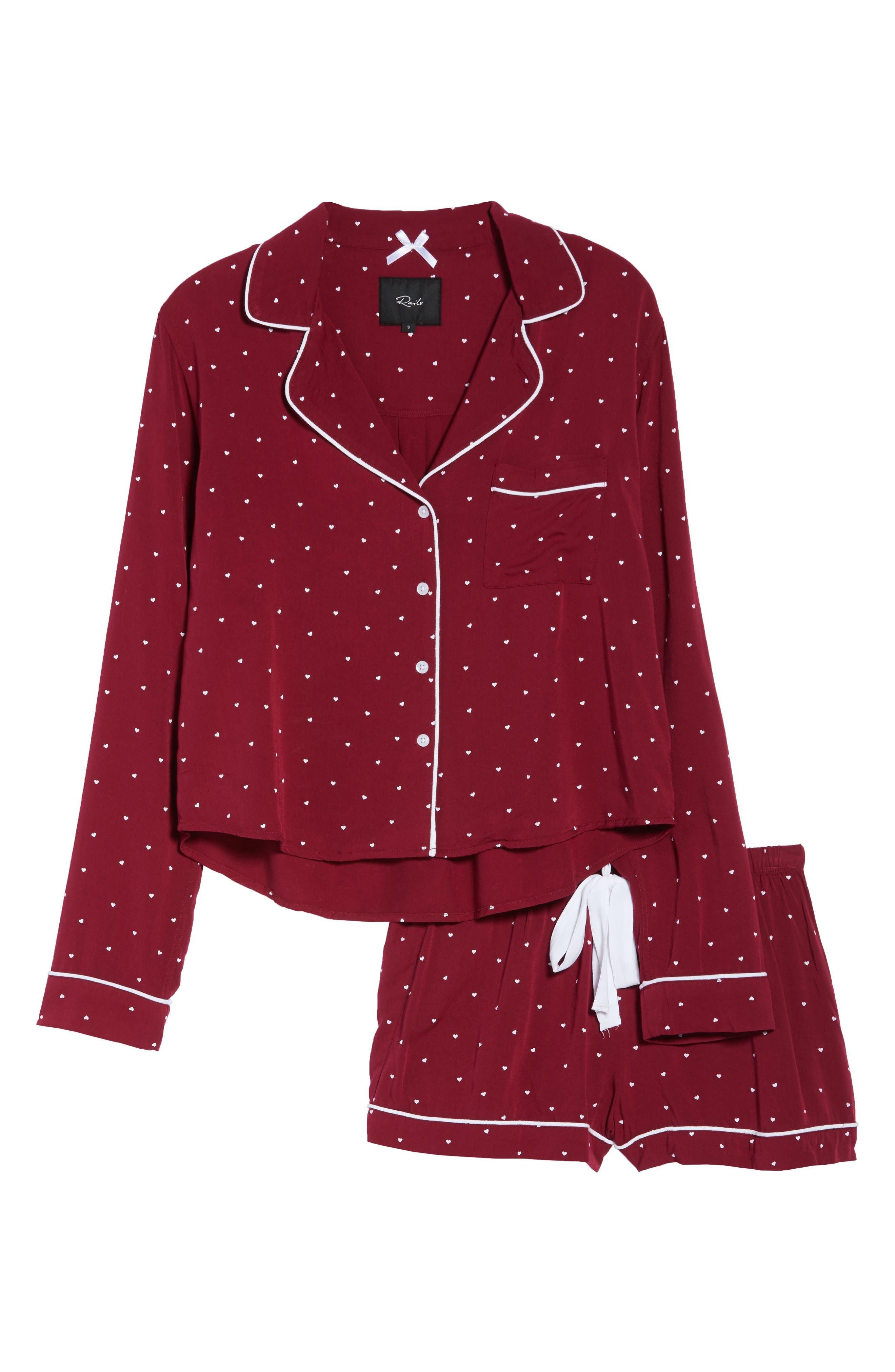 Short Pajamas,                             Alternate thumbnail 6, color,                             WHITE RED MINI HEARTS