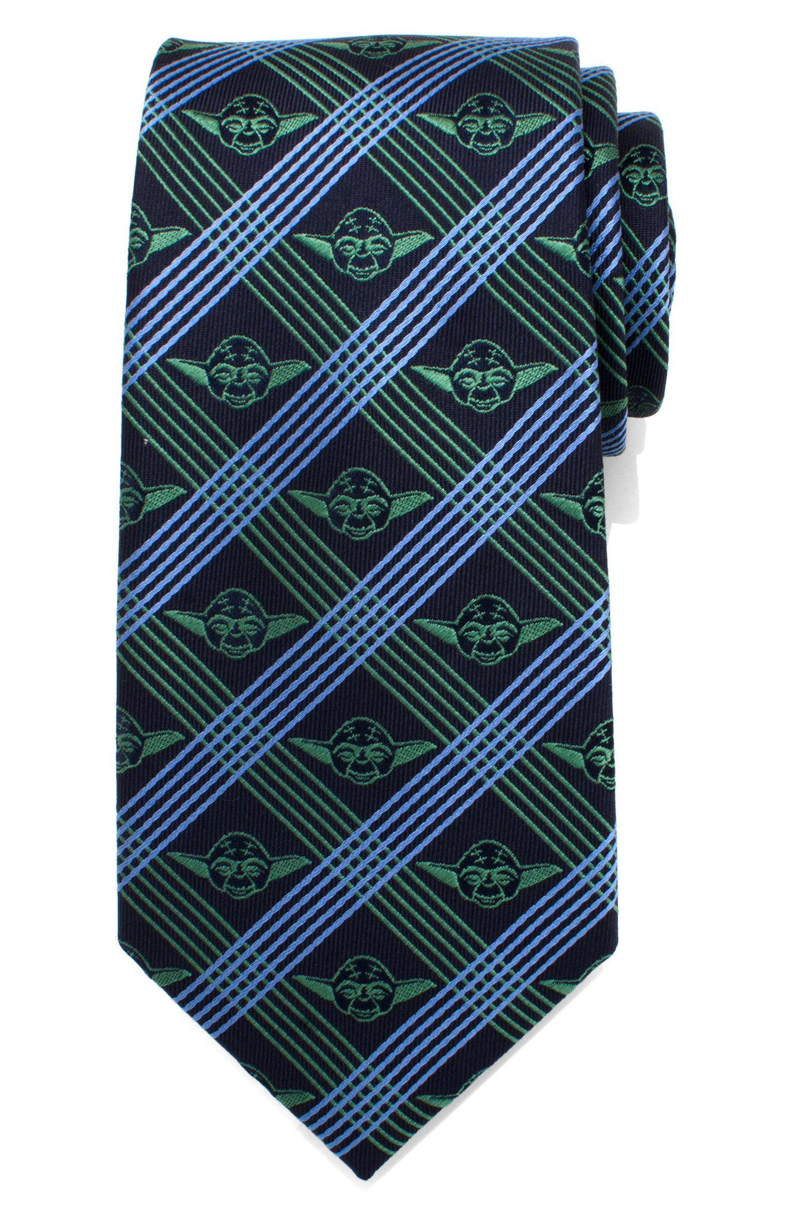 Yoda Grid Silk Tie,                             Alternate thumbnail 2, color,                             NAVY