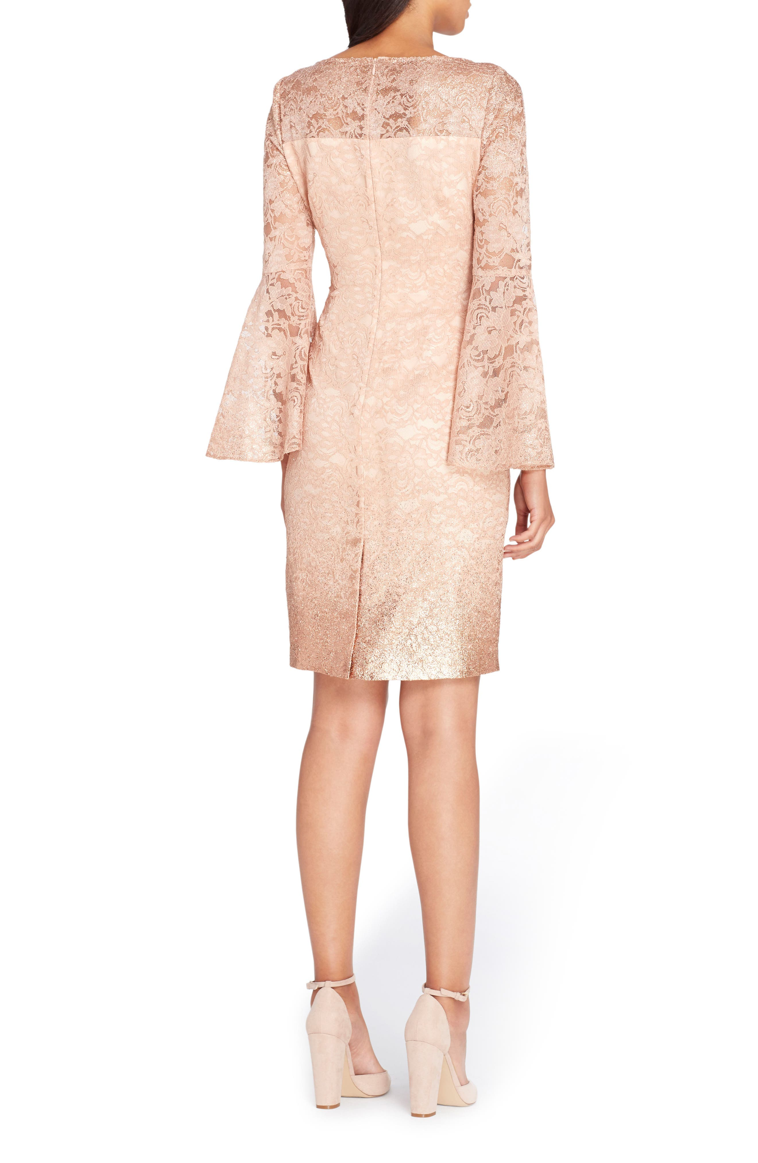 Lace Bell Sleeve Sheath Dress,                             Alternate thumbnail 2, color,