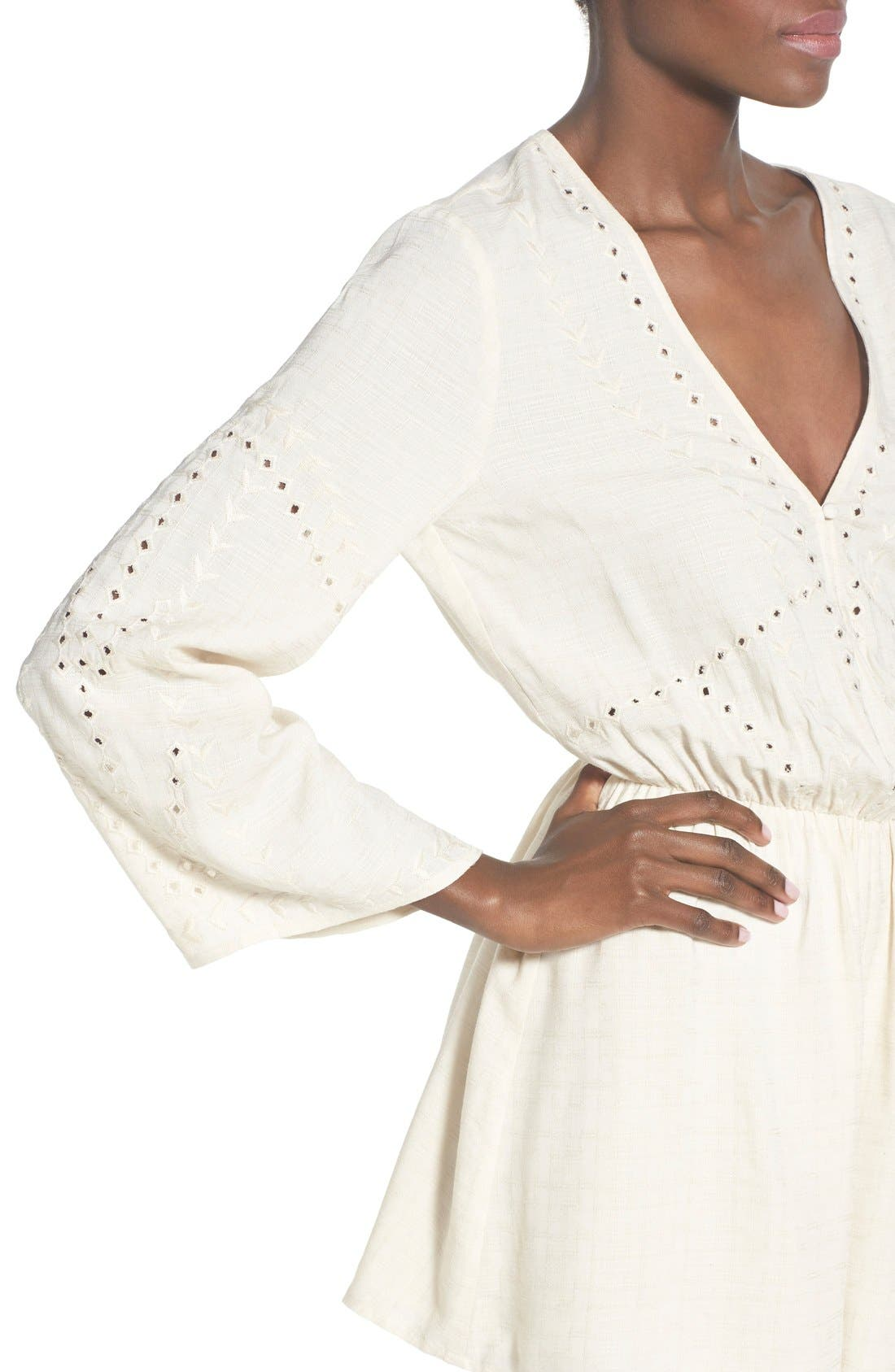 ASTR Embroidered Bell Sleeve Romper,                             Alternate thumbnail 4, color,                             902