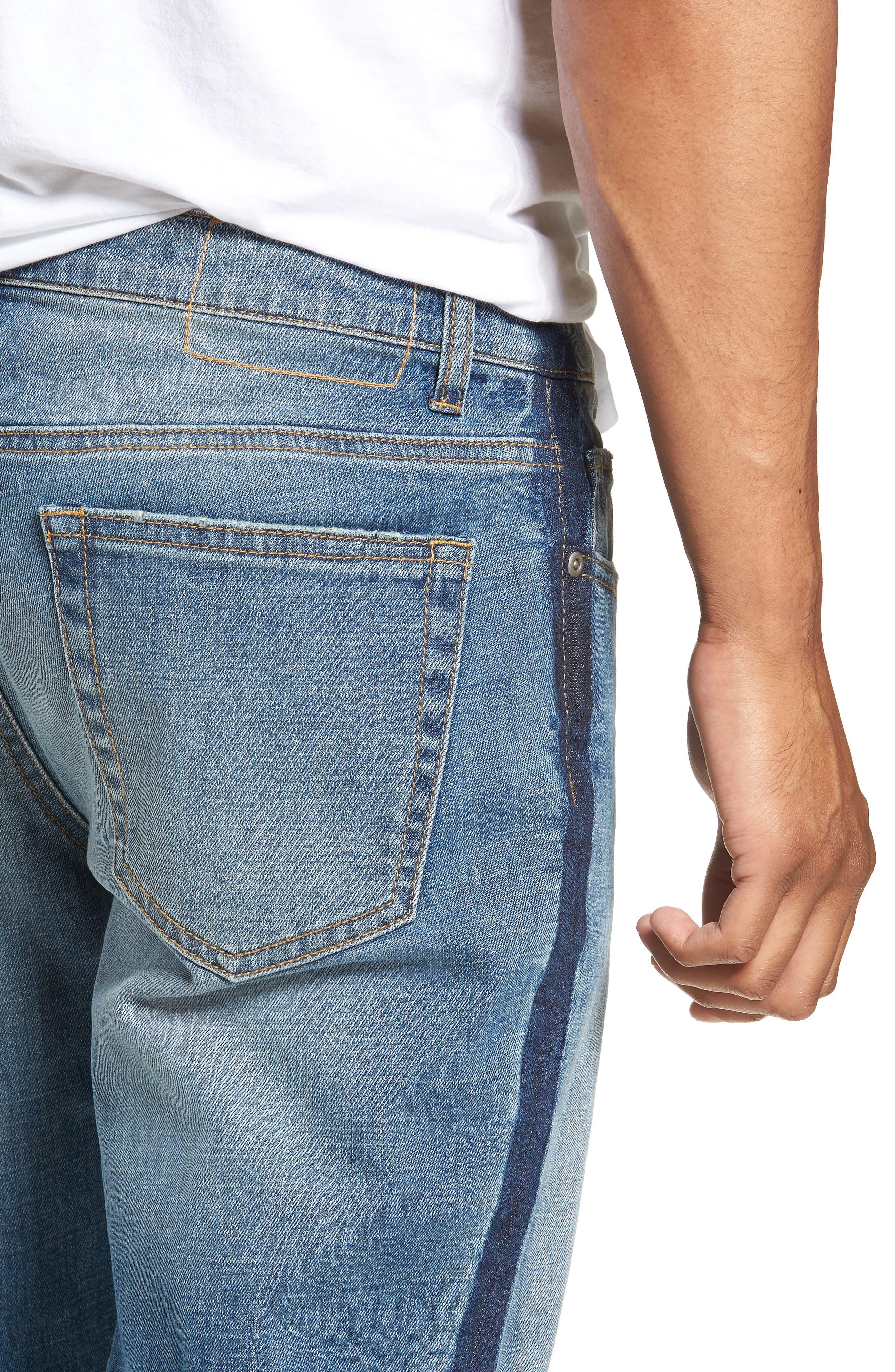 Slim Fit Side Stripe Jeans,                             Alternate thumbnail 4, color,                             BLUE STALEY WASH