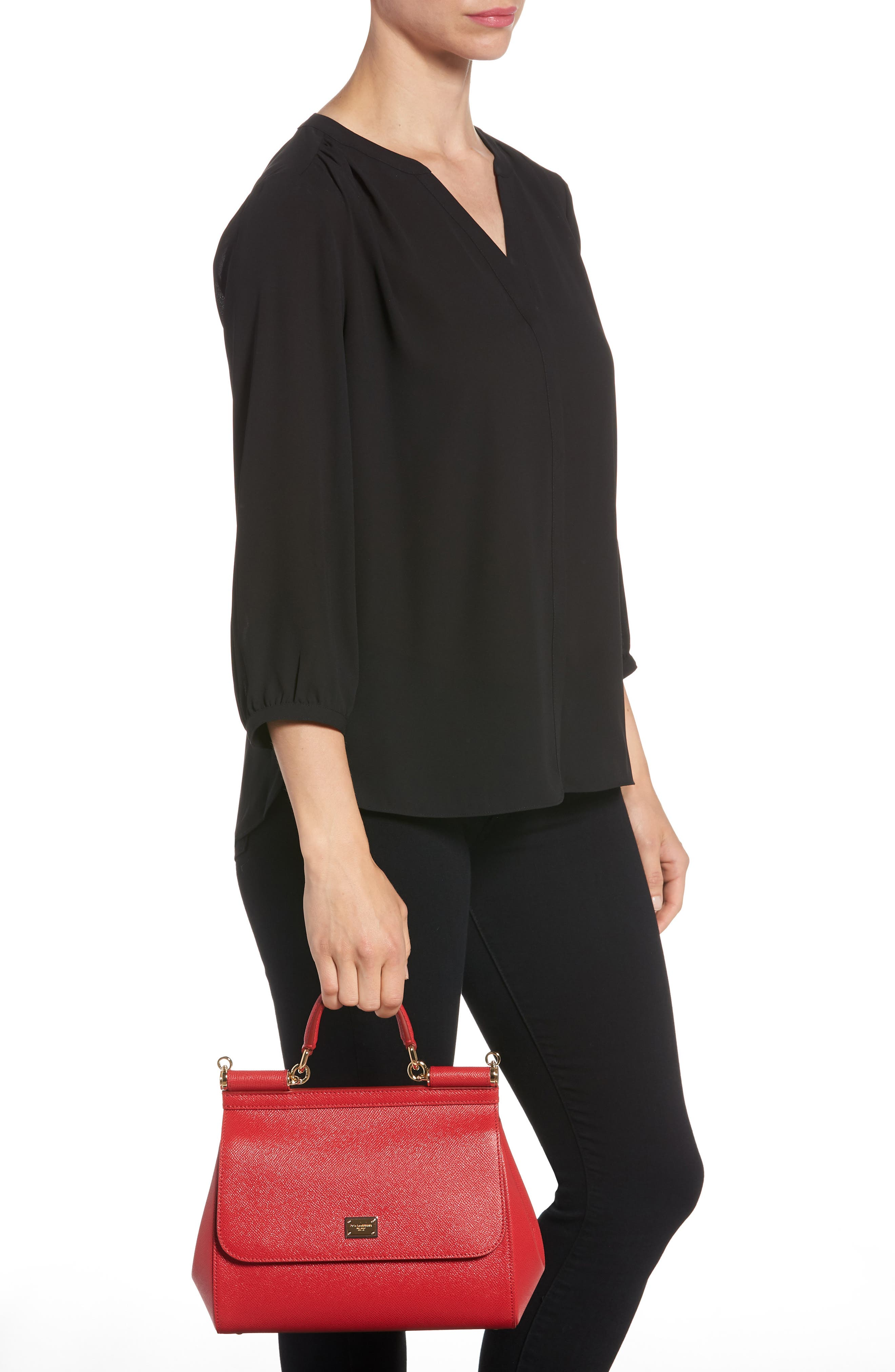 'Small Miss Sicily' Leather Satchel,                             Alternate thumbnail 2, color,                             RED