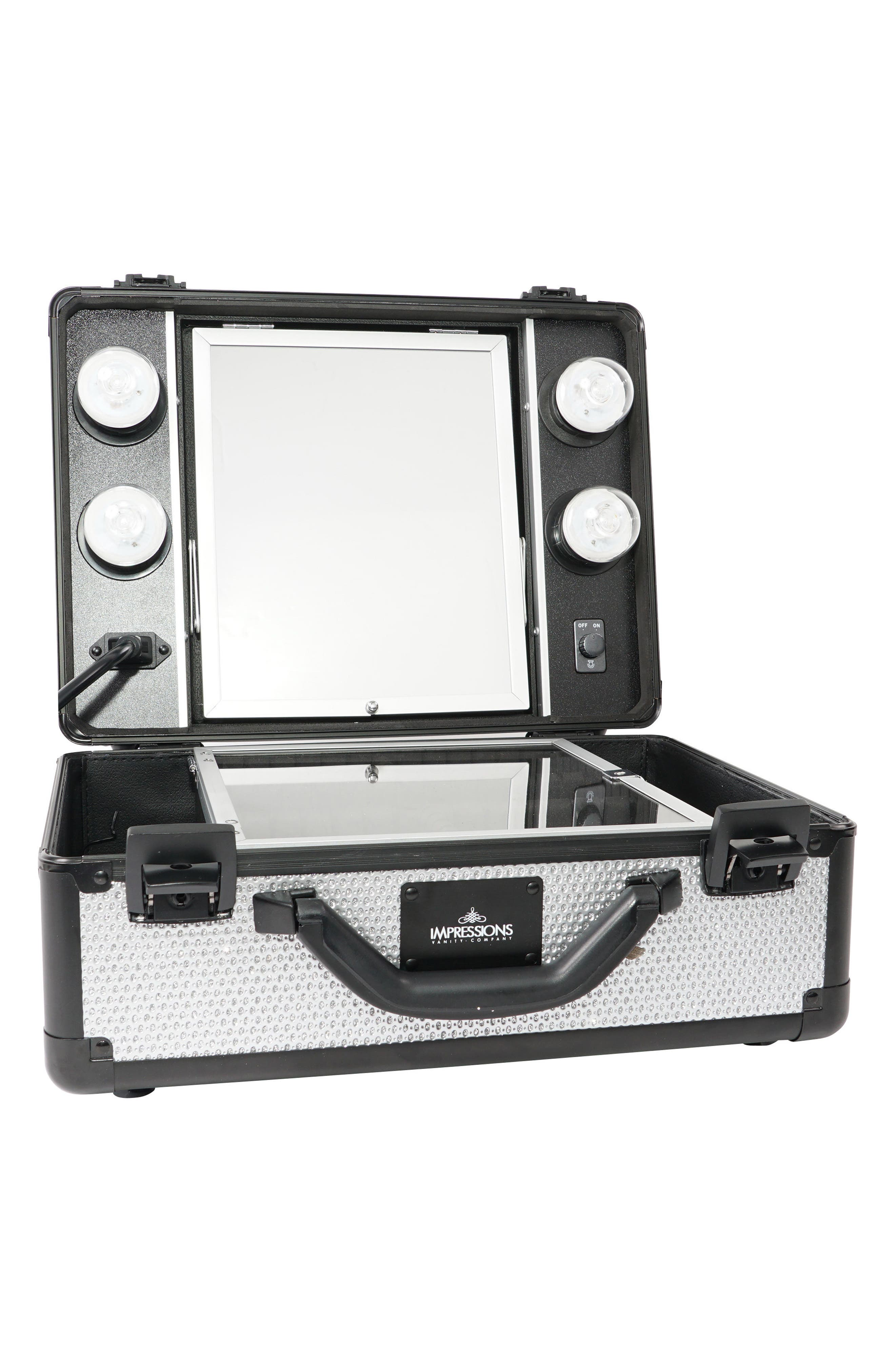 SlayCase<sup>™</sup> Vanity Travel Case,                             Main thumbnail 1, color,                             SPARKLING SILVER