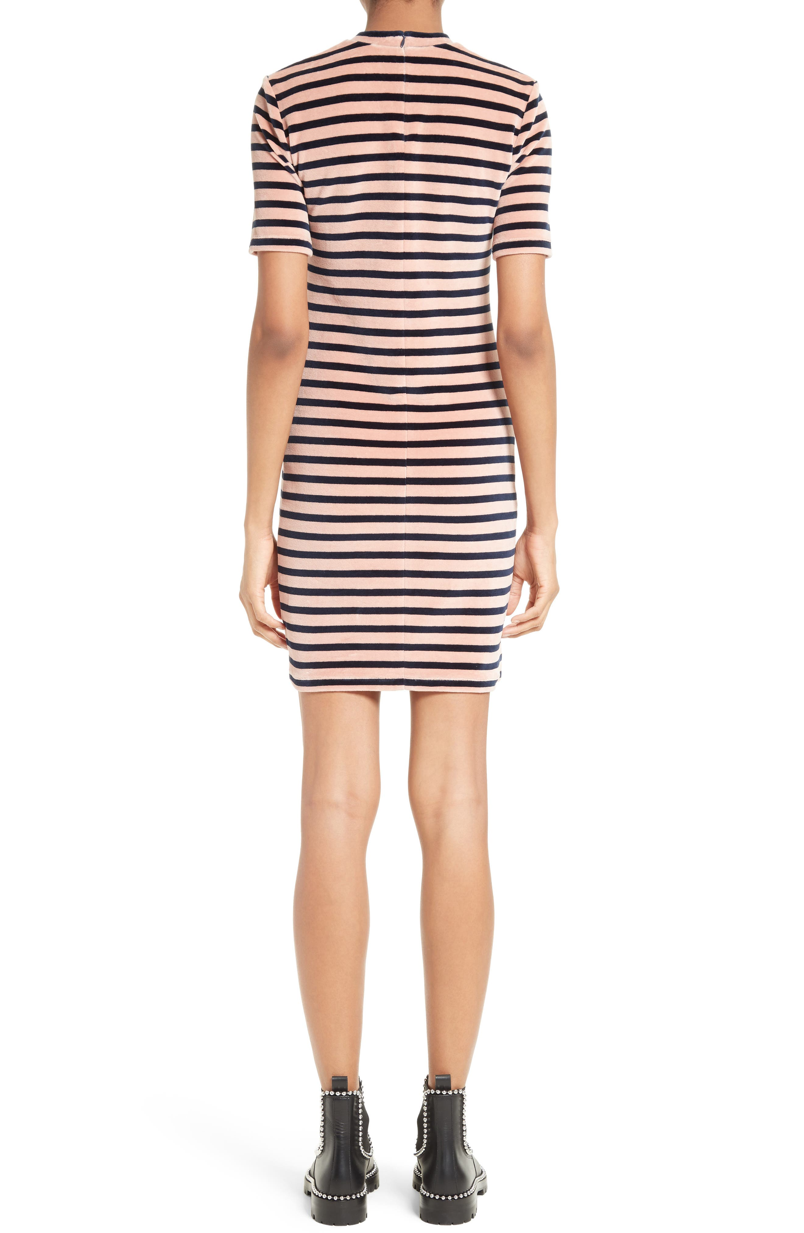 T by Alexander Wang Stripe Velvet Dress,                             Alternate thumbnail 2, color,                             401