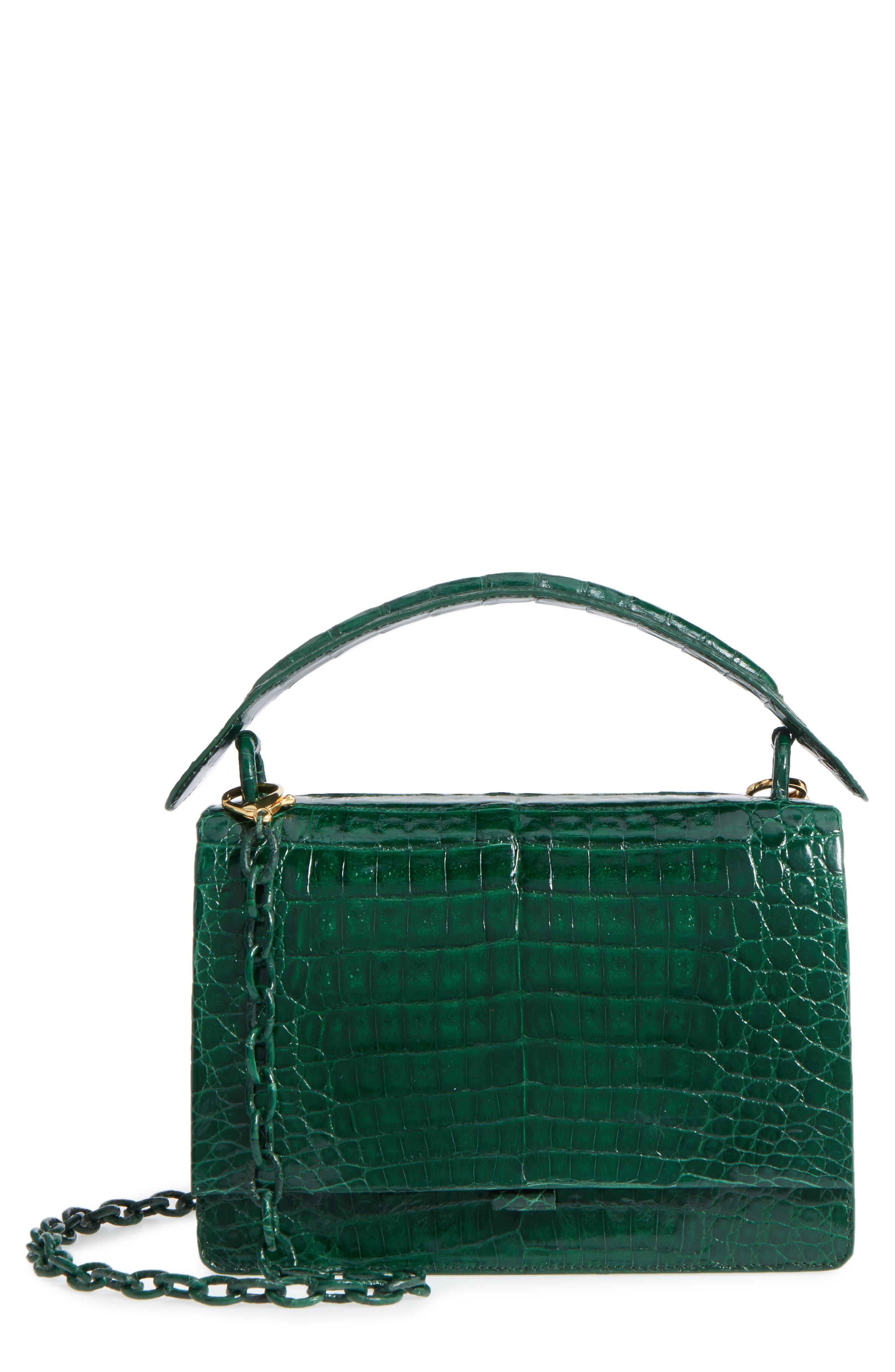 Divino Genuine Crocodile Top Handle Bag,                             Main thumbnail 1, color,                             KELLY GREEN SHINY