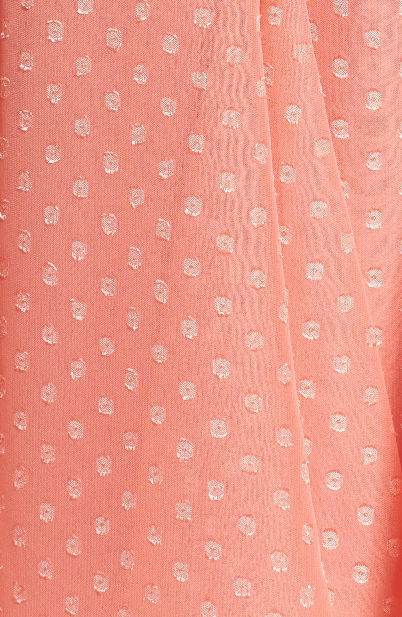 Split Sleeve Swiss Dot Chiffon Faux Wrap Dress,                             Alternate thumbnail 5, color,                             650