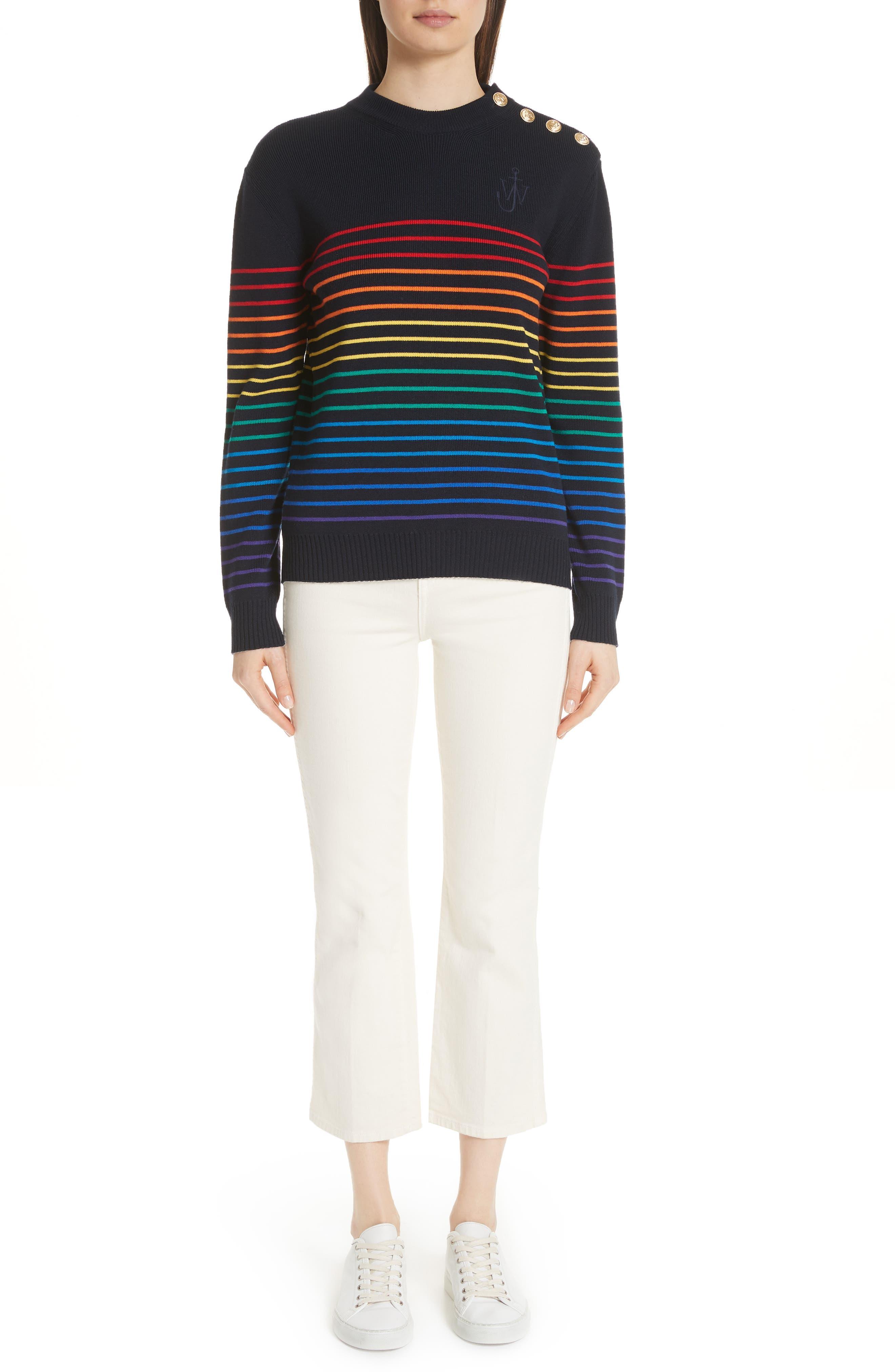 Marinière Stripe Wool Sweater,                             Alternate thumbnail 7, color,                             400