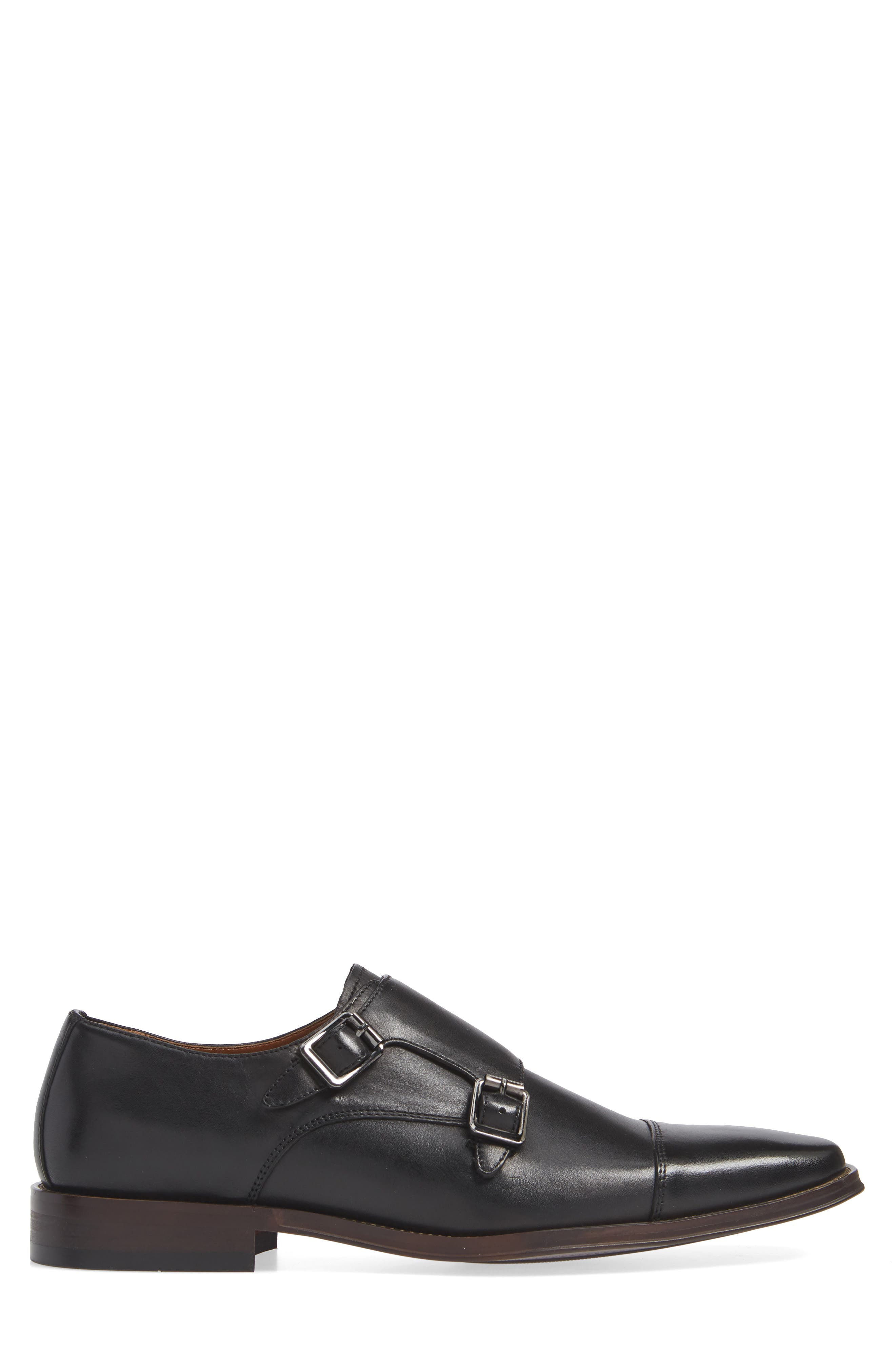 Remy Monk Strap Slip-On,                             Alternate thumbnail 3, color,                             BLACK LEATHER