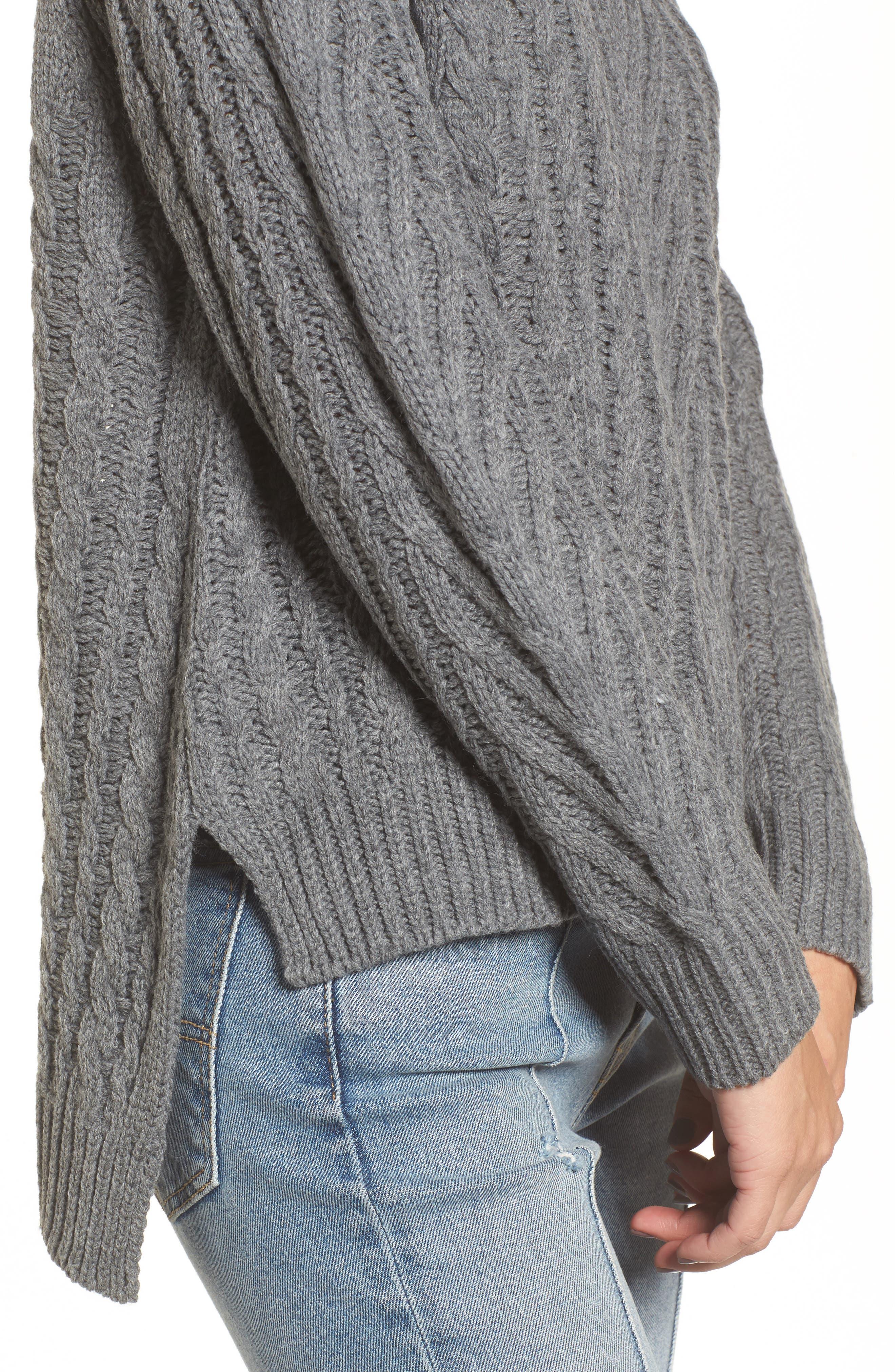 Cable Knit Turtleneck Sweater,                             Alternate thumbnail 4, color,                             020