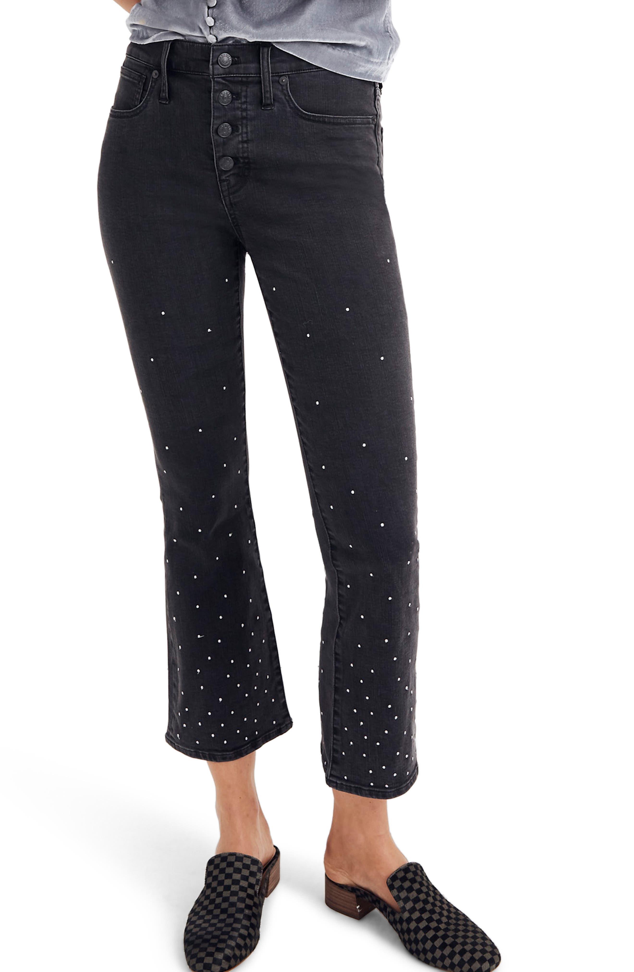 Cali Demi Boot Jeans, Main, color, SILVER DOTS